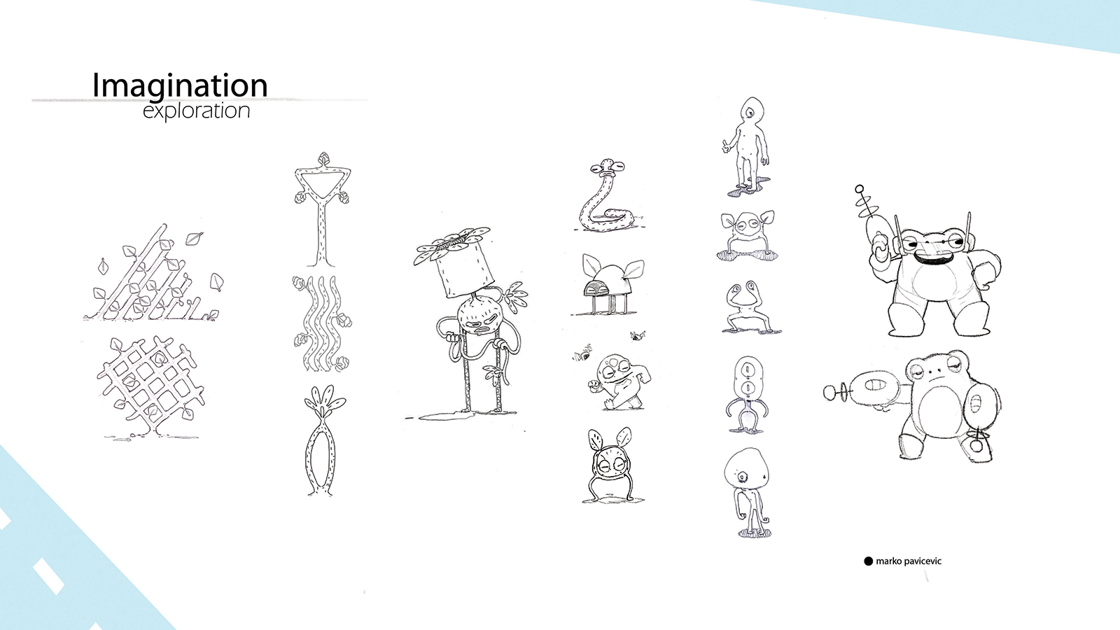 Concepts and sketches for imaginary creatures in Flap.