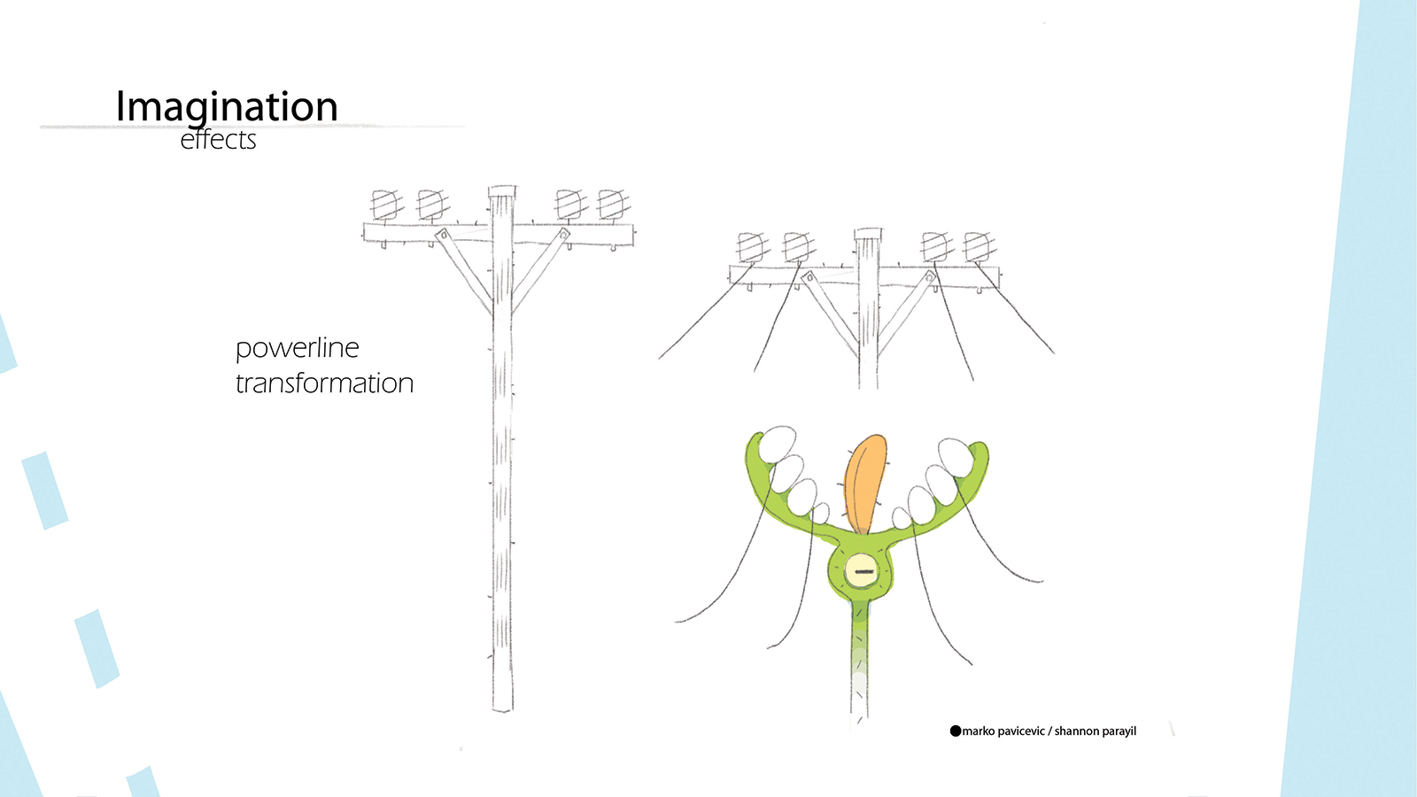 Sketch of a telephone pole turning into an imaginary creature.