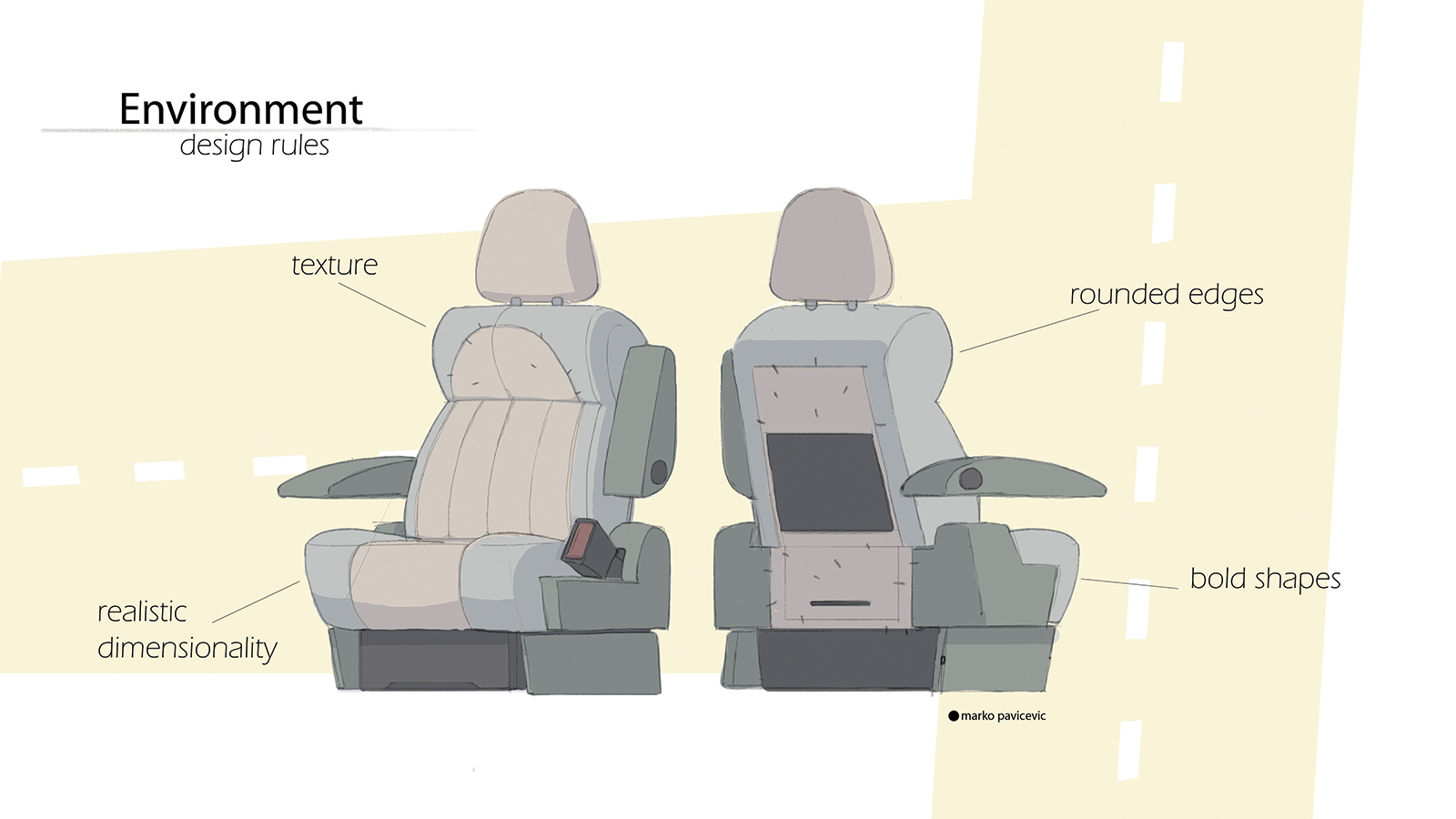 Turnaround and design rules for a car seat depicted in Flap.