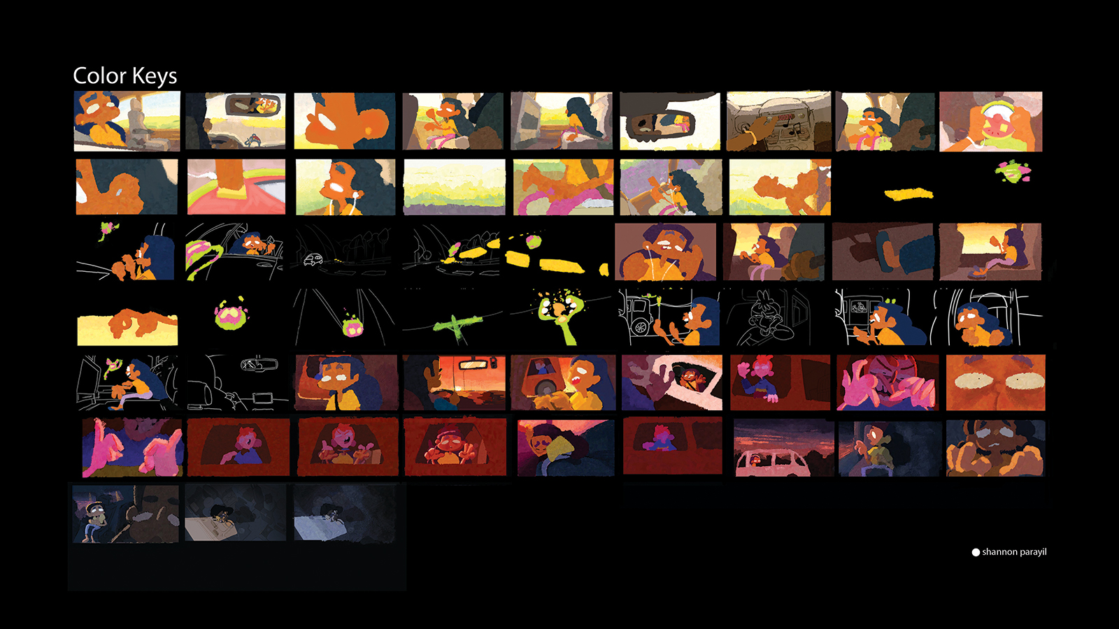 Storyboard and color key of Flap.