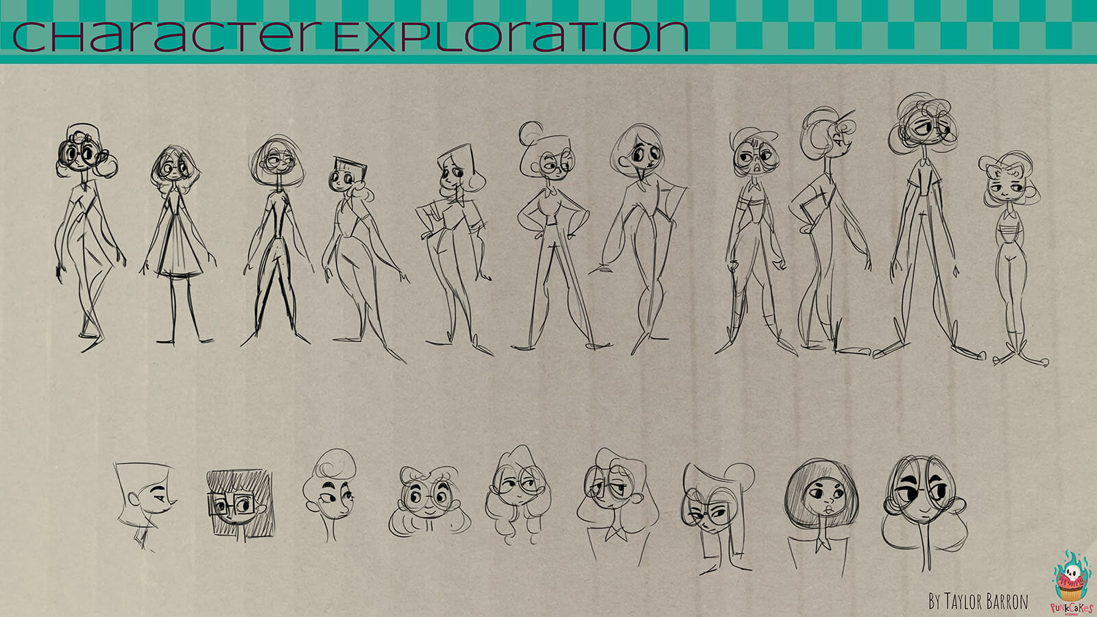 "A ""character exploration"" sheet, exploring different designs for the film's delivery girl protagonist."