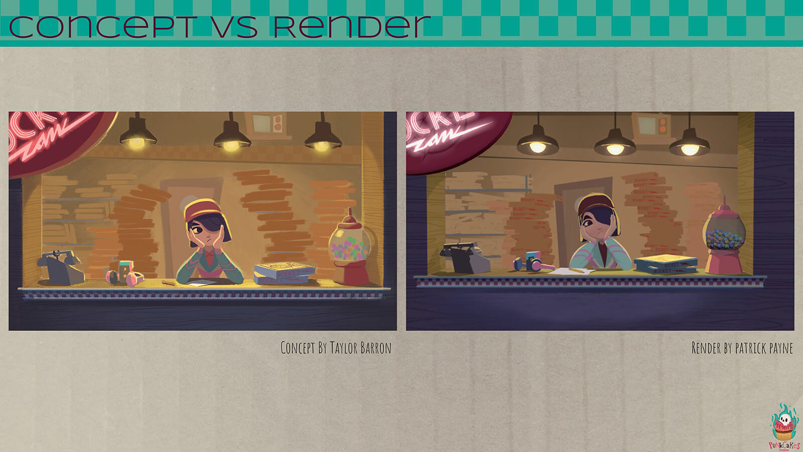 "A ""concept vs render"" sheet, showing a scene from the film's conceptual stage against the final product."