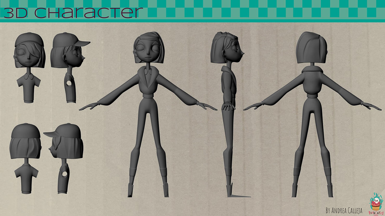 An untextured 3D model of the film's delivery girl protagonist.