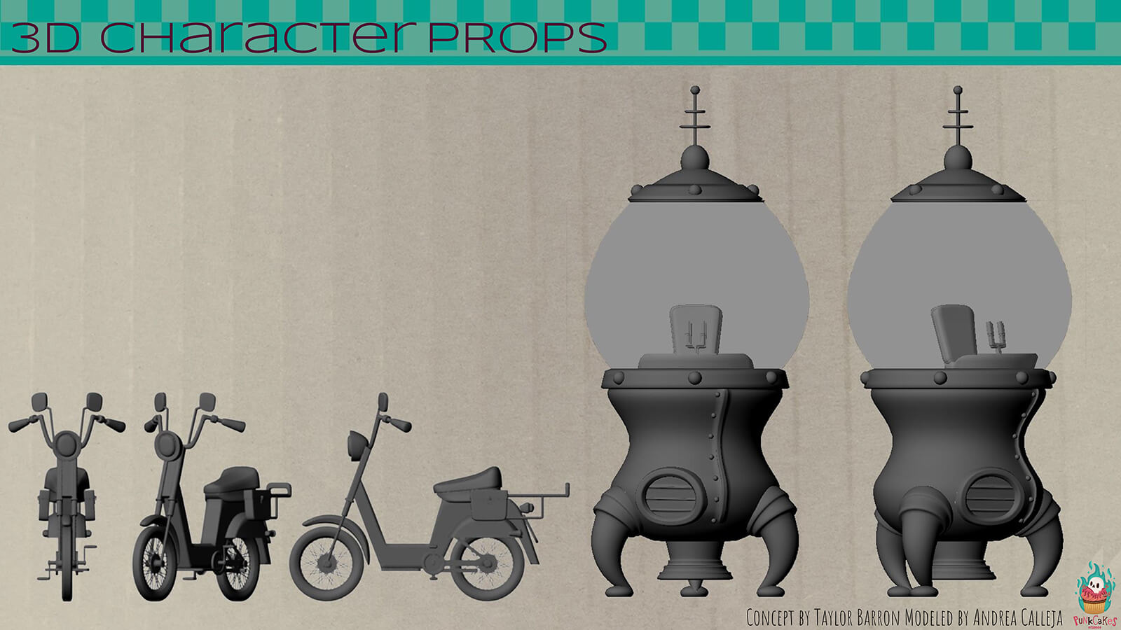 3D renders of character props, including a motor scooter and a rocket ship.