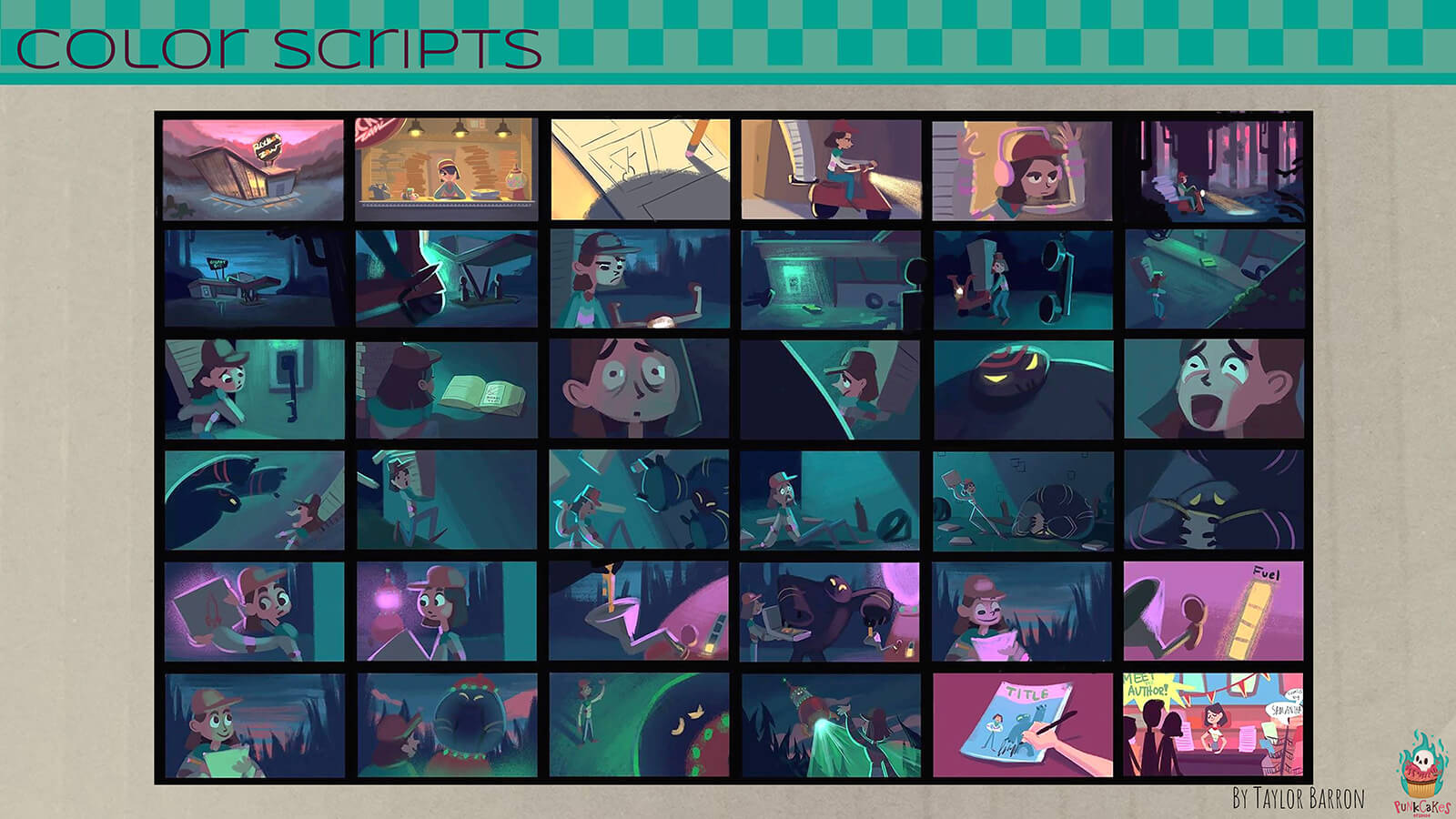 "A ""color script"" for the film, showing the color palette over the course of the film's major scenes."