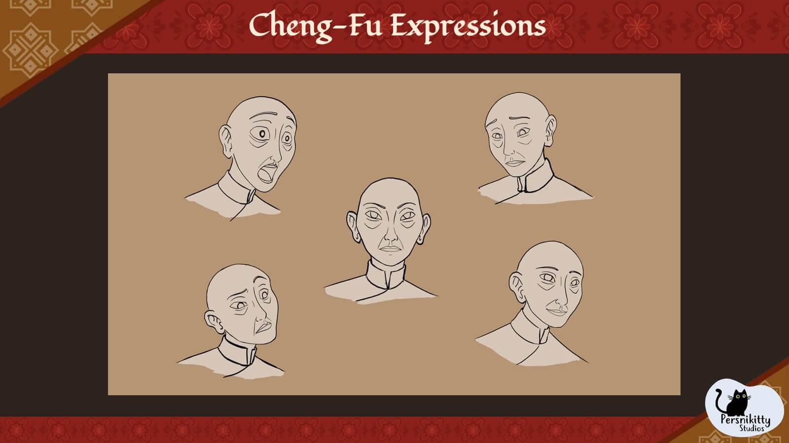 A slide displaying a variety of facial expressions for Master Cheng-Fu.