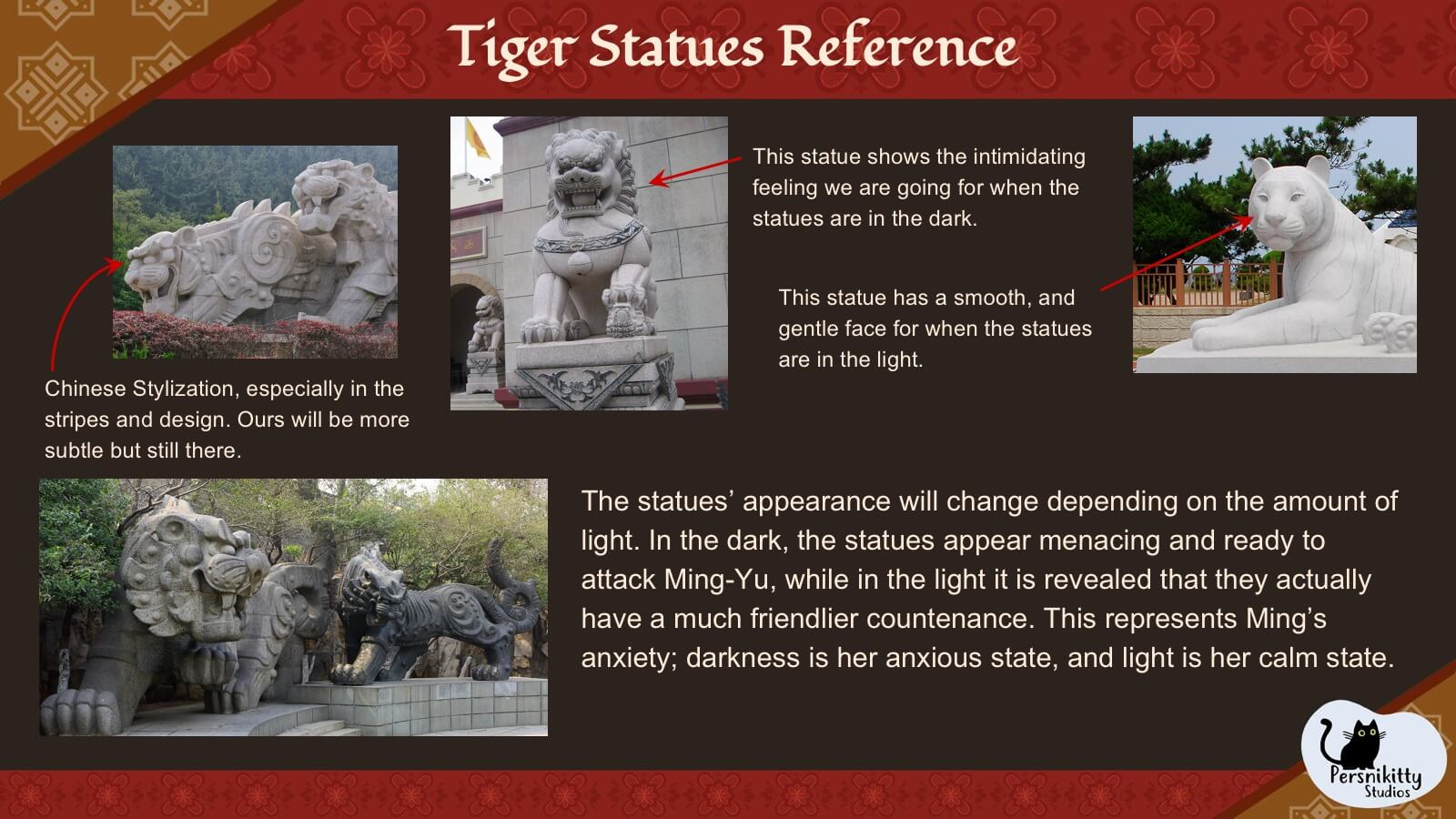 A slide displaying a variety of visual references for the design of the film's tiger statues.