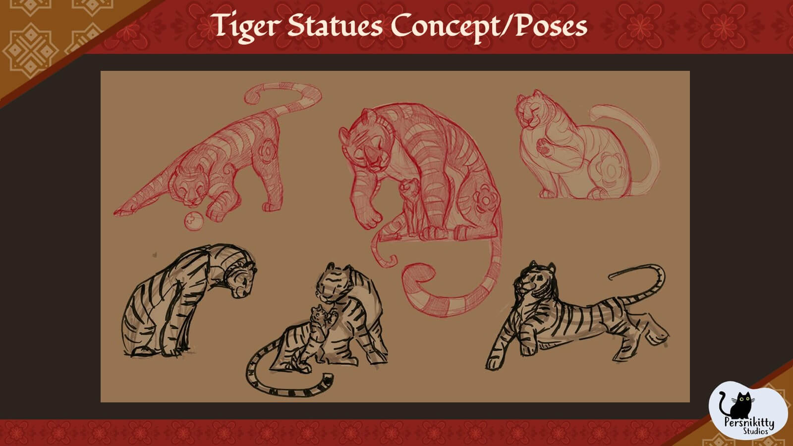 A slide displaying a variety of poses for the film's tiger statues.