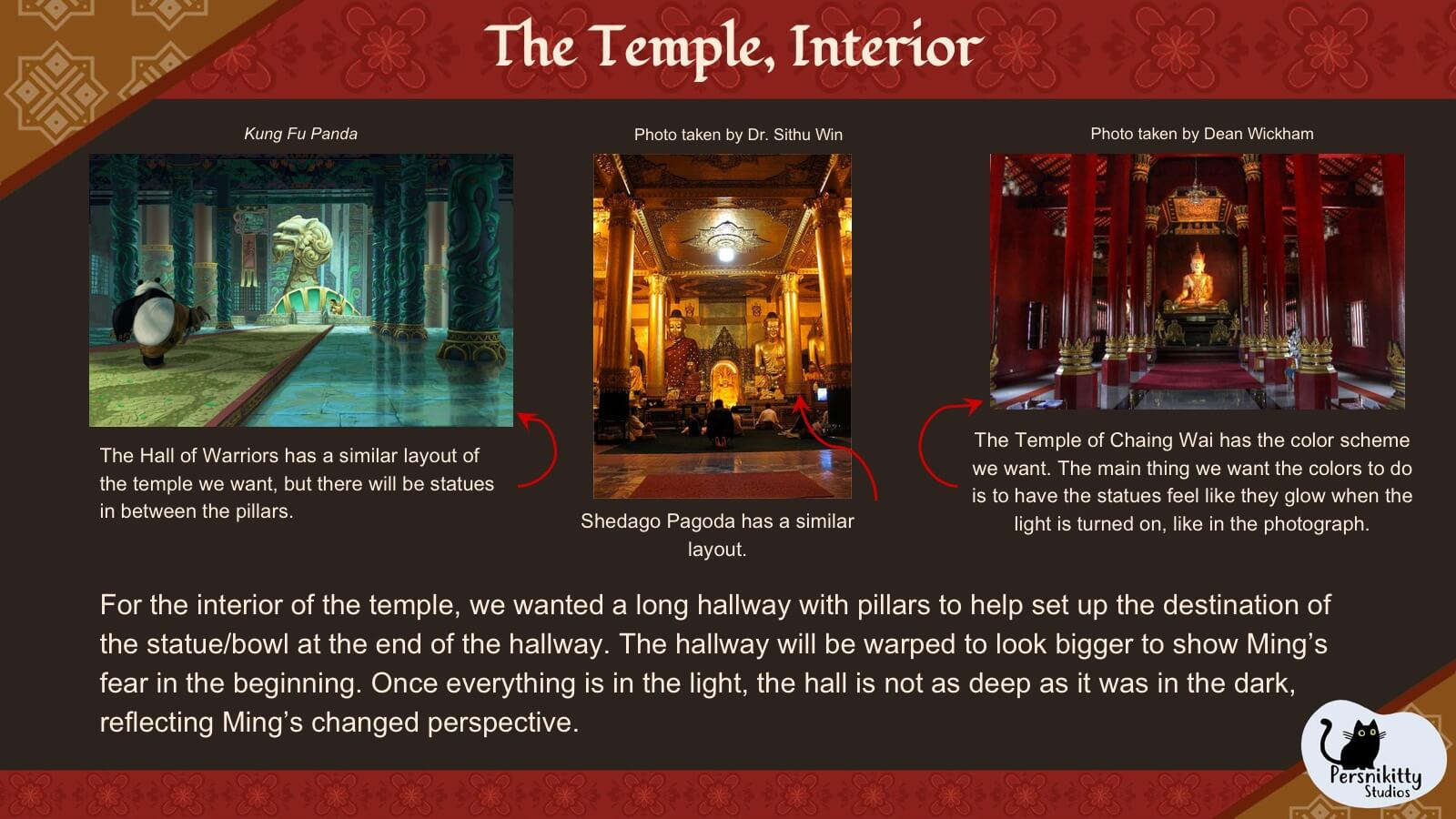 A slide displaying visual references for the temple interior.