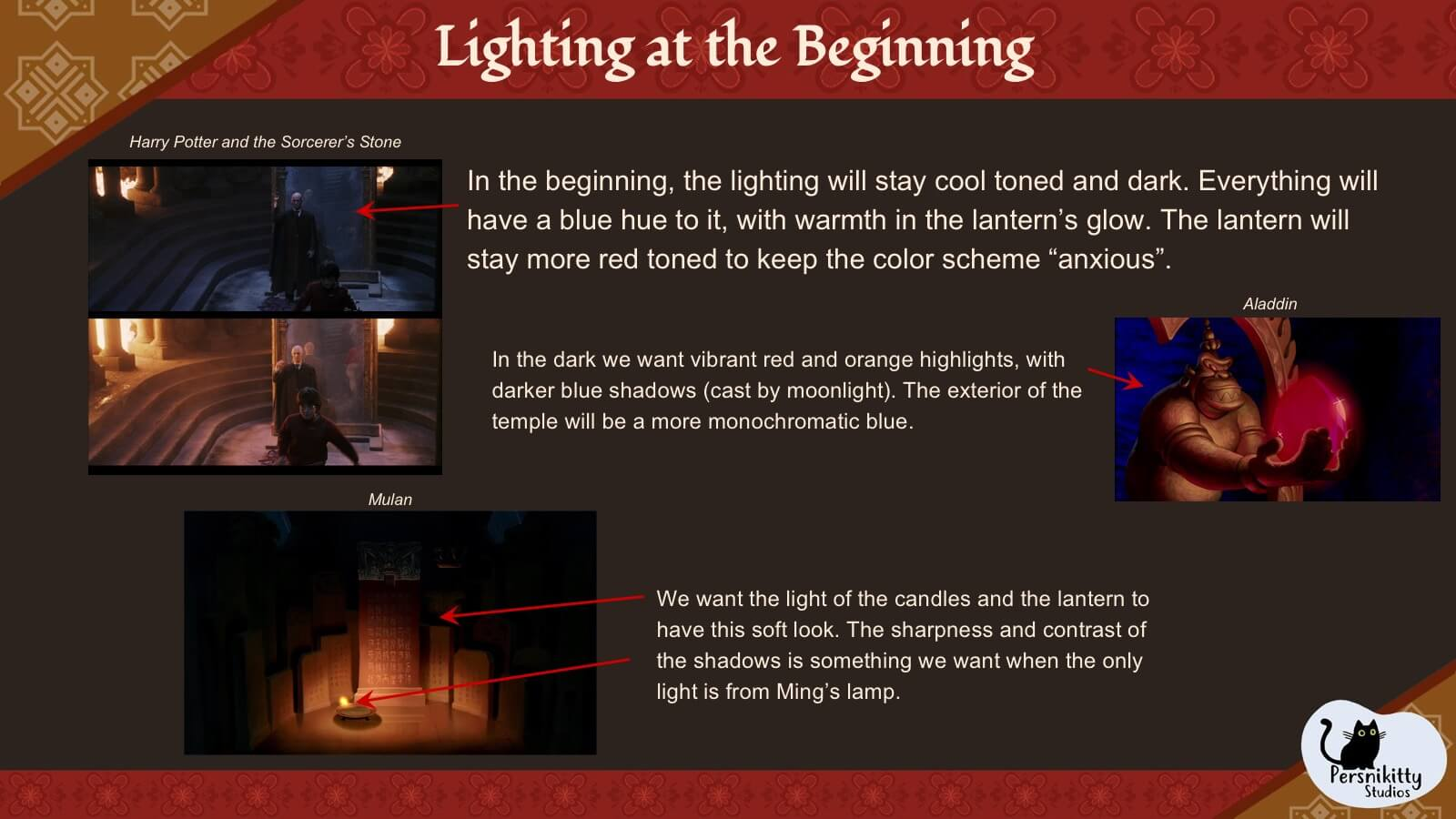 A slide displaying the visual references for lighting in the temple at the start of the film.