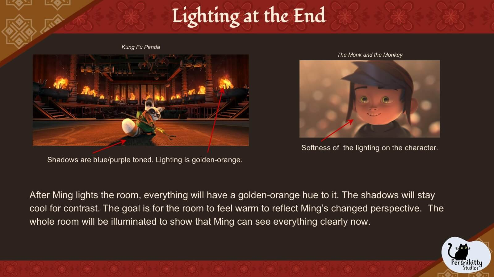 A slide displaying the visual references for lighting in the temple at the end of the film.