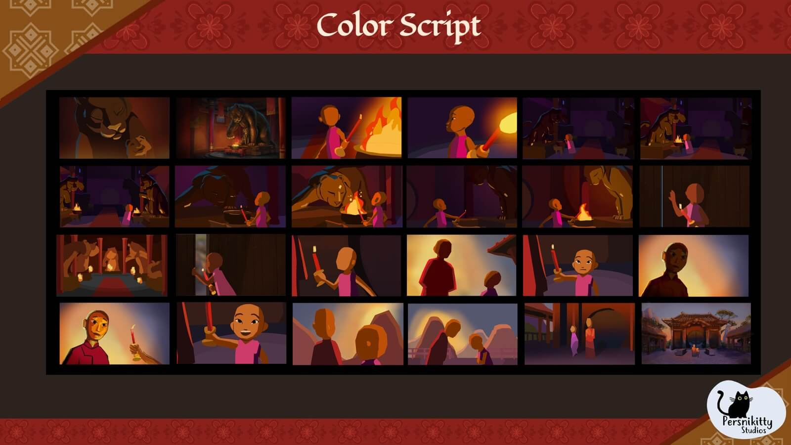 A slide featuring the color script for the film.