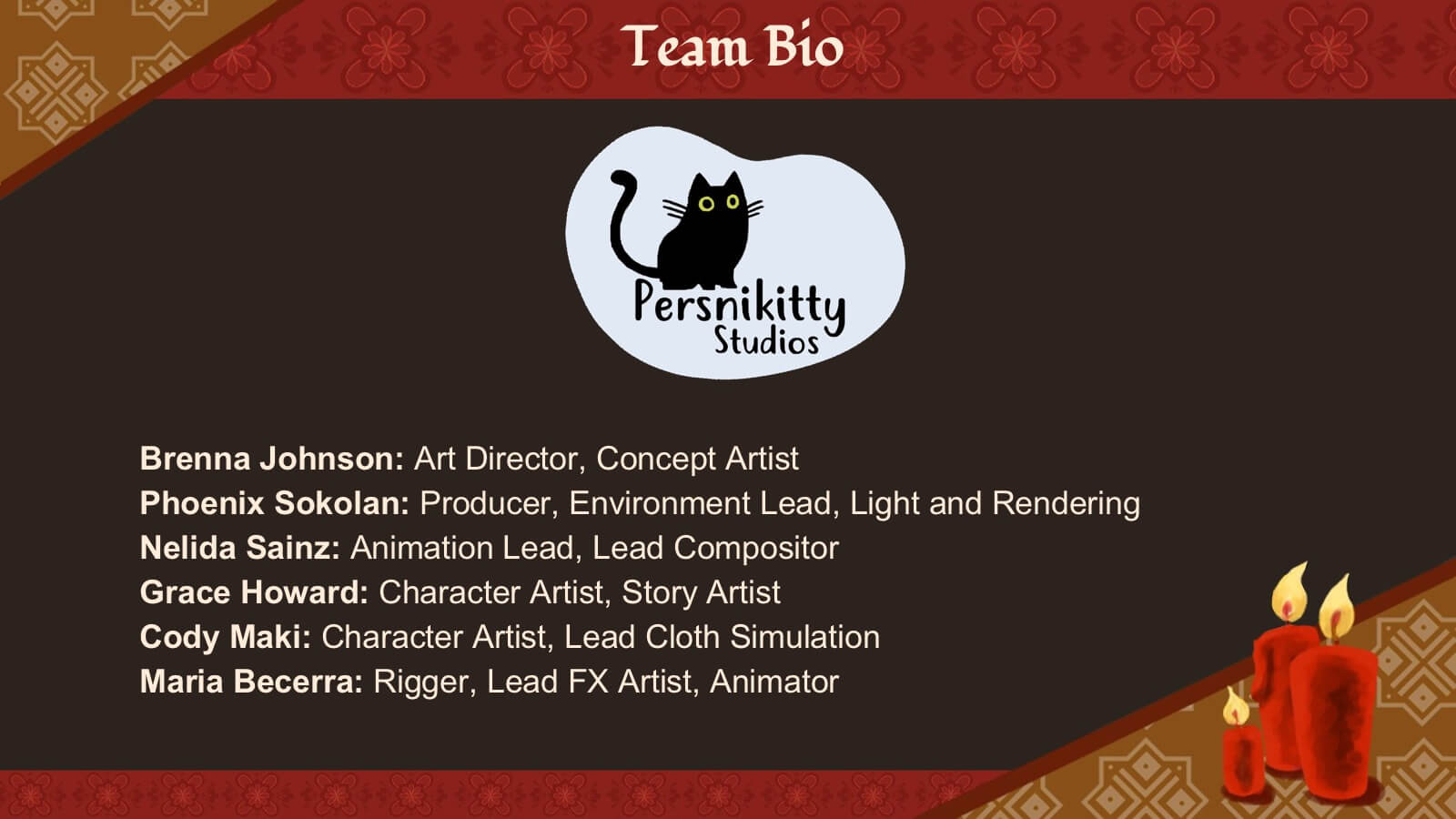 A slide displaying the names of the Pernikitty Studios team.