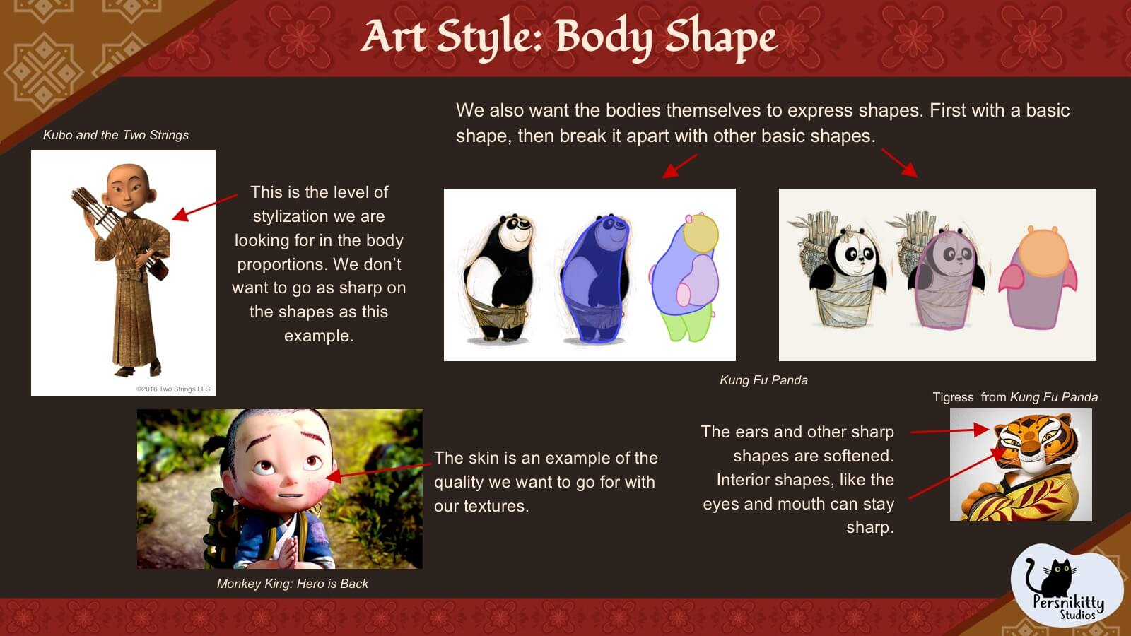A slide outlining the art style the team used for the characters' body shapes.