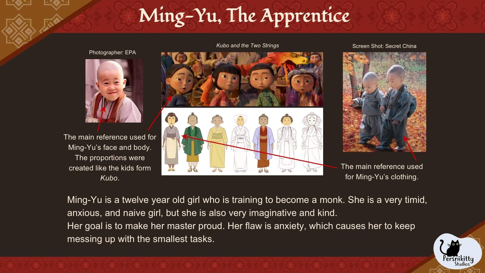 A slide outlining the visual style references for the protagonist, Ming.