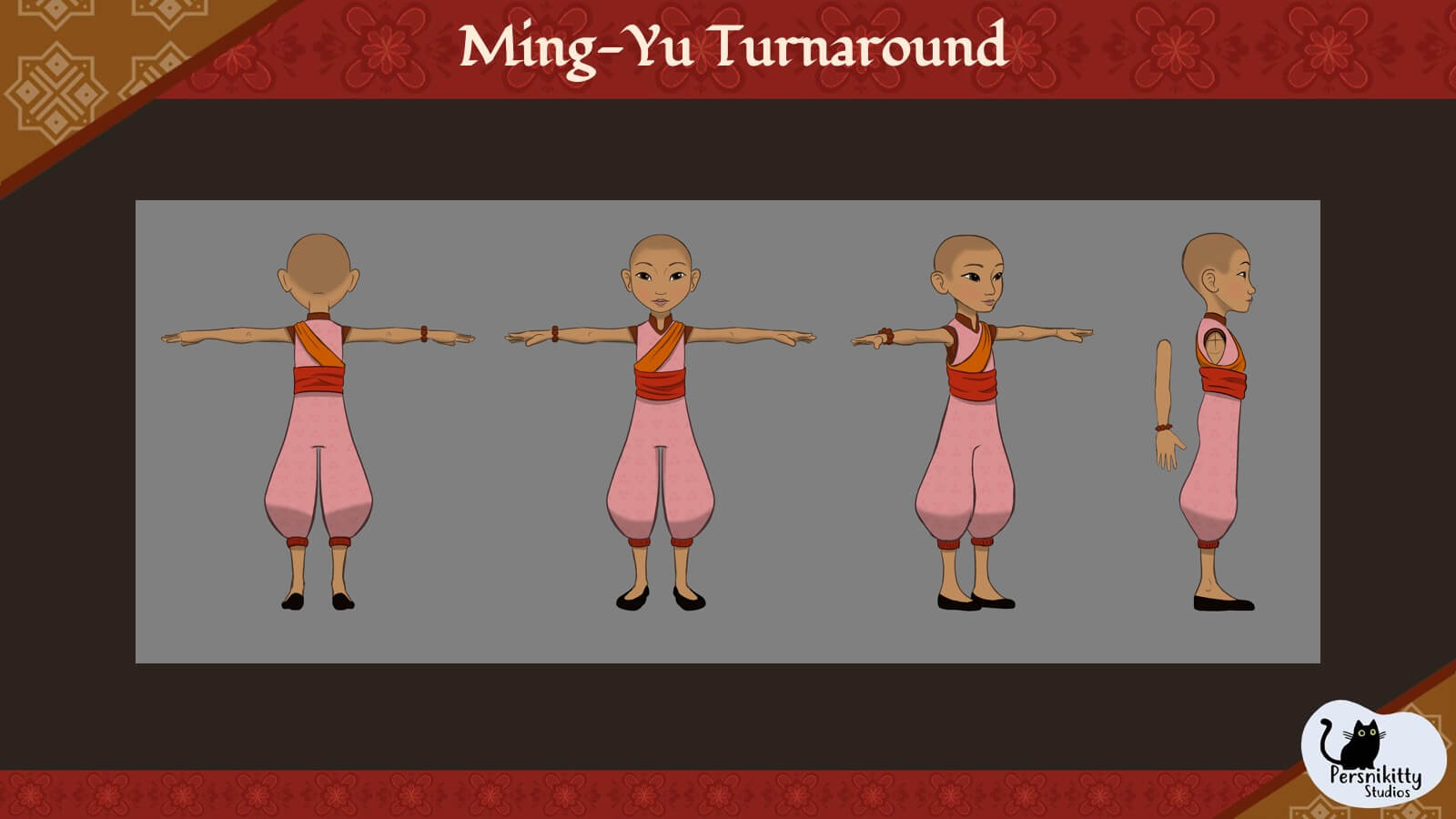 A slide with a turnaround of the character model for Ming.