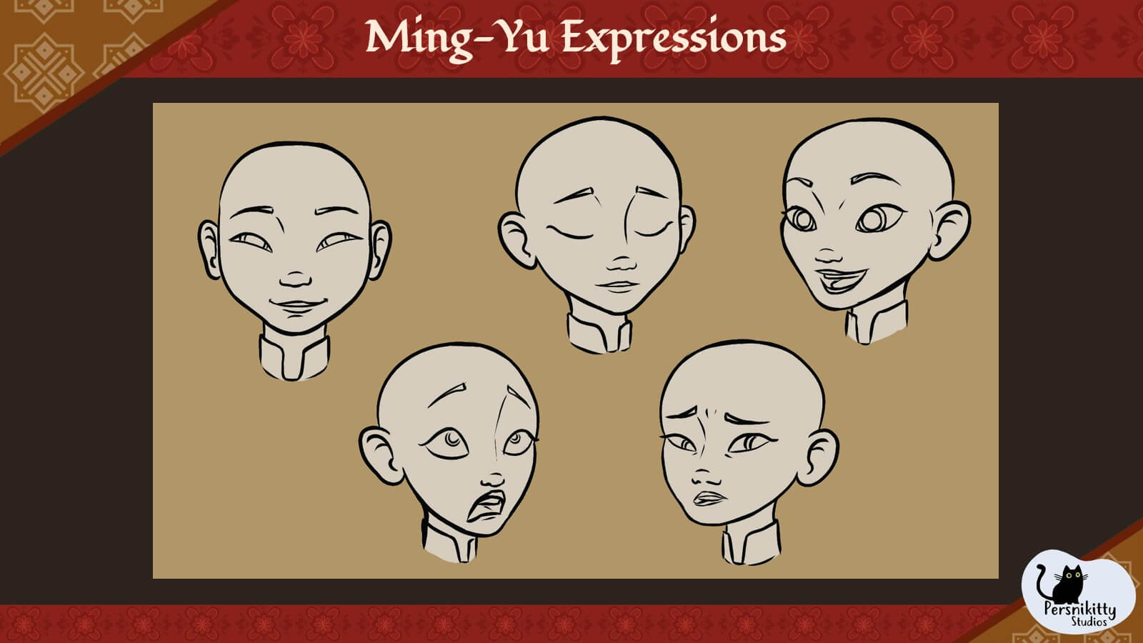 A slide displaying a variety of facial expressions for Ming.