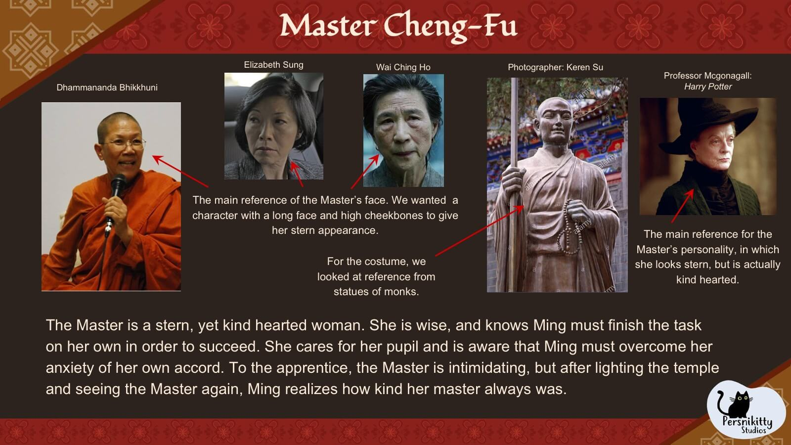 A slide outlining the visual style references for Ming's master, Cheng-Fu.