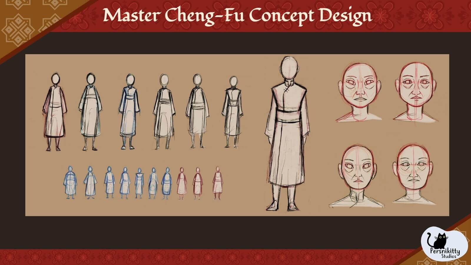 A concept design slide for the character Master Cheng-Fu.
