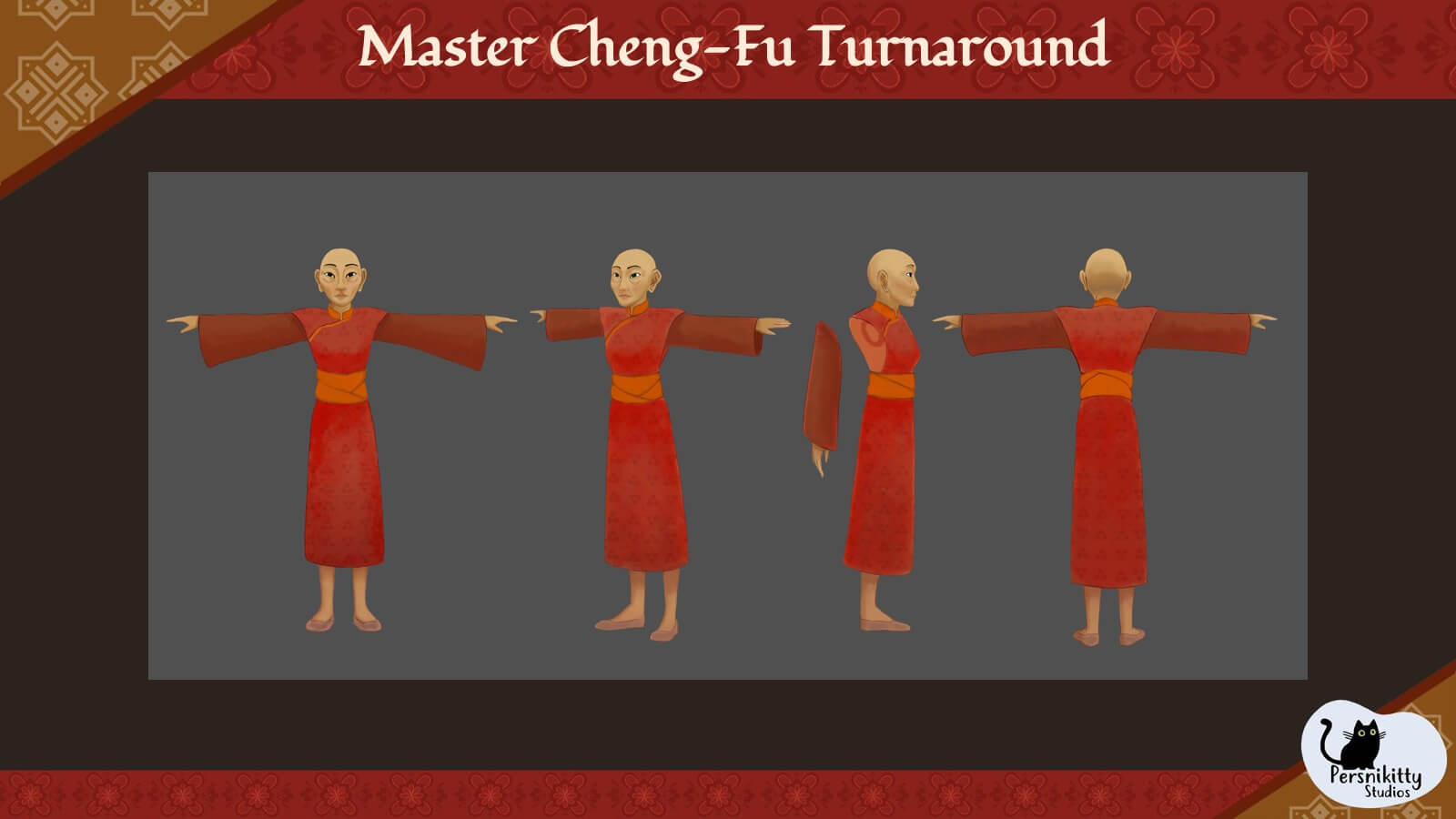 A slide with a turnaround of the character model for Master Cheng-Fu.