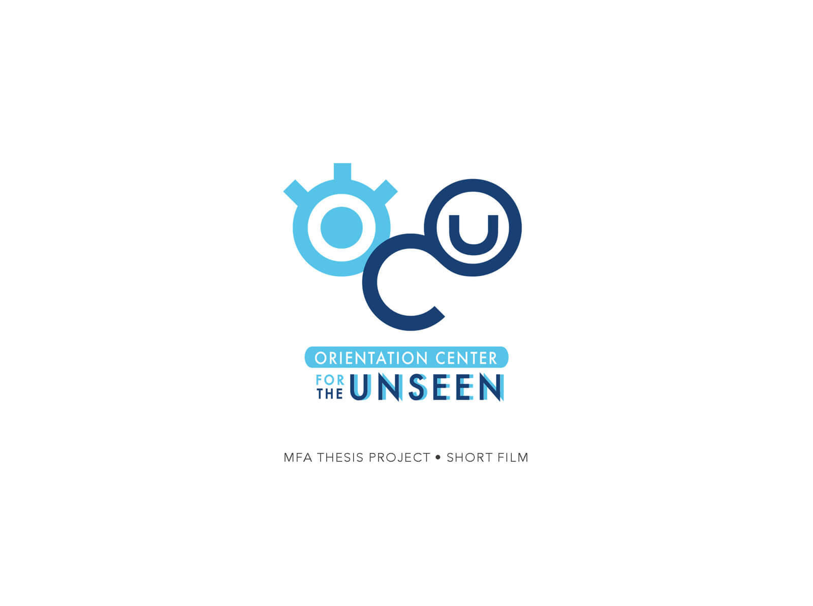Title slide for the short film Orientation Center for the Unseen, depicting a stylized, blue and light blue logo