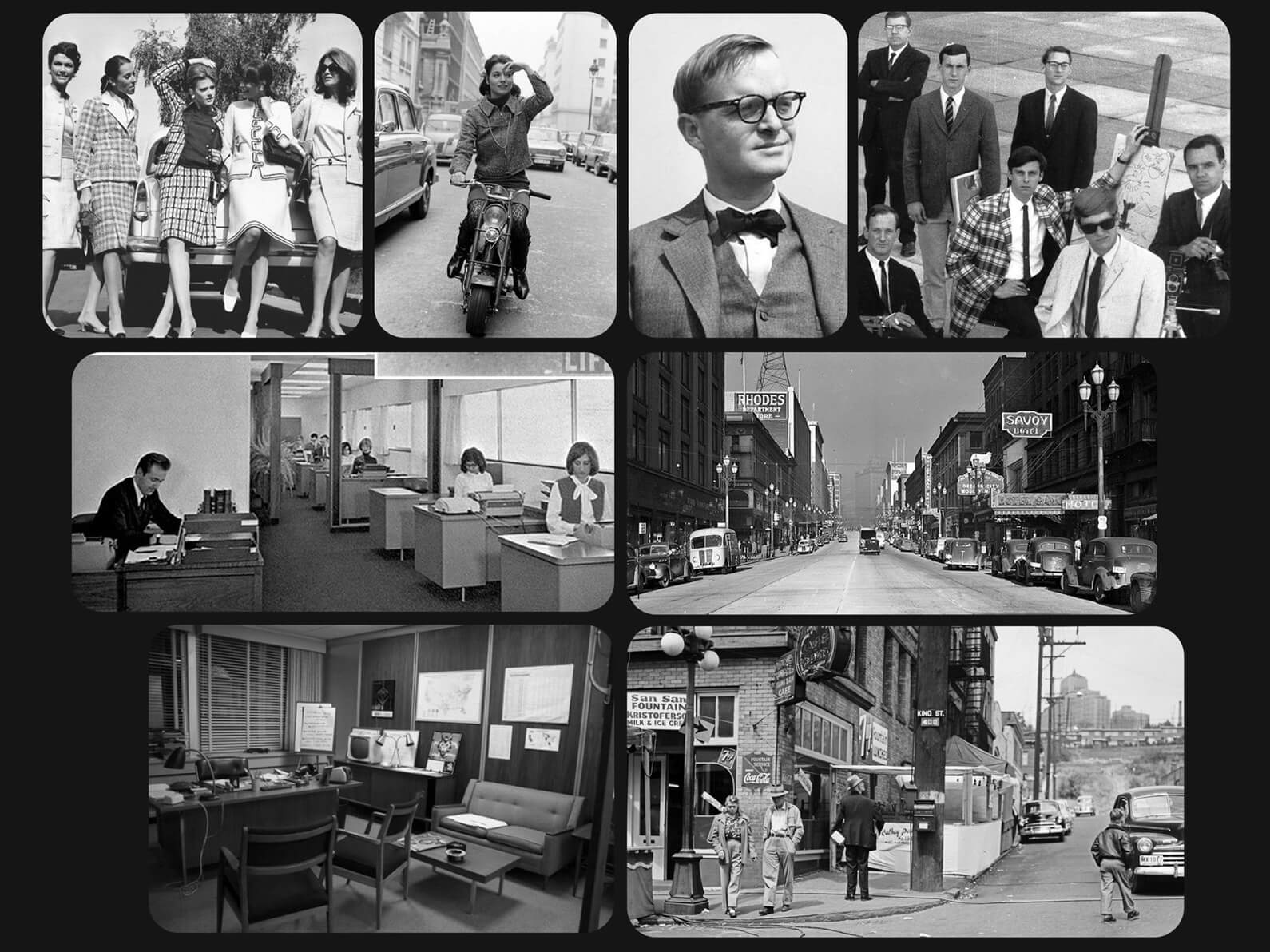 50's era black and white photographs depicting fashion and stylistic inspiration for Orientation Center for the Unseen