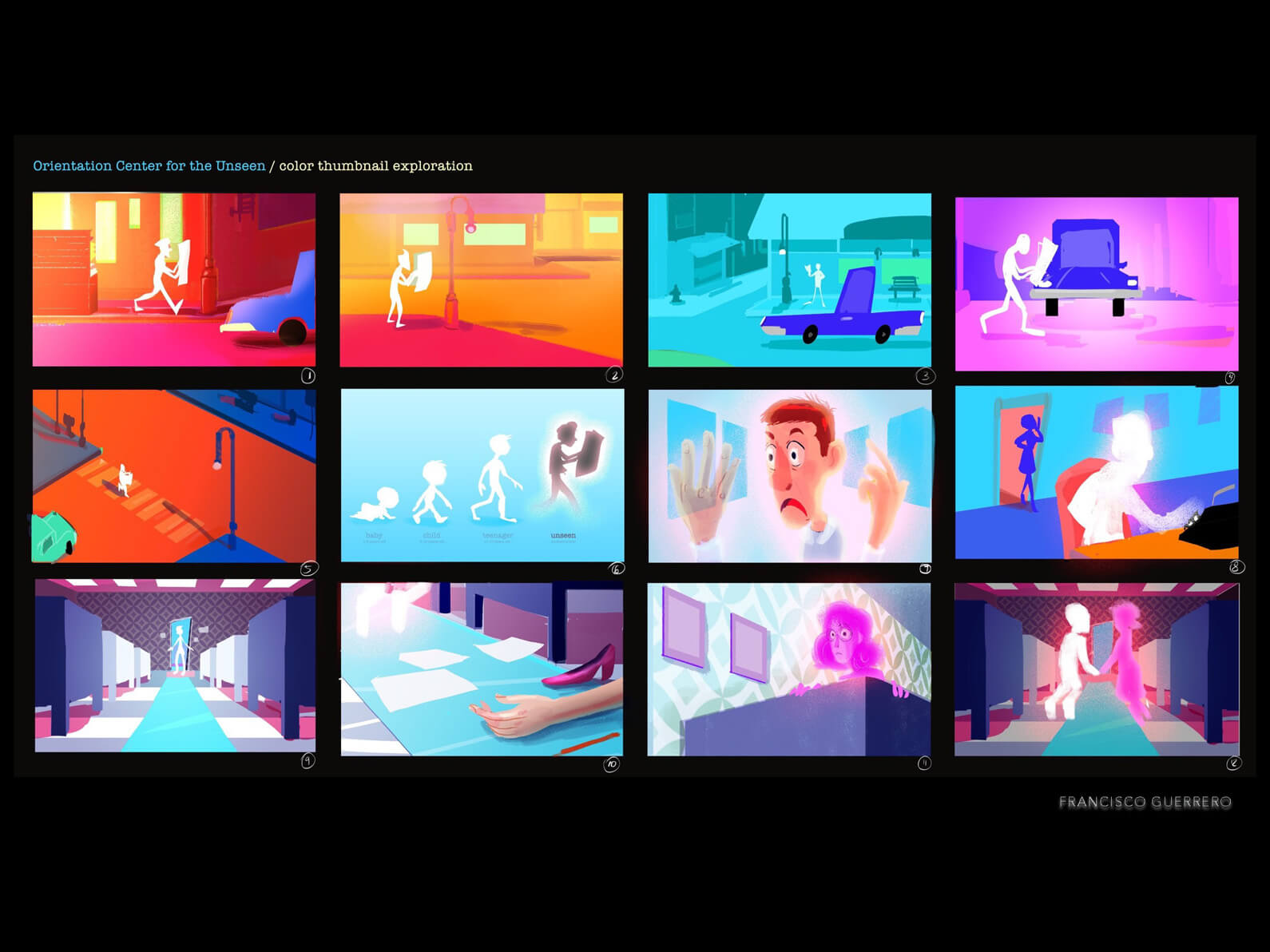 Color thumbnail exploration board for Orientation Center for the Unseen with initial plot, in a vibrant color palette