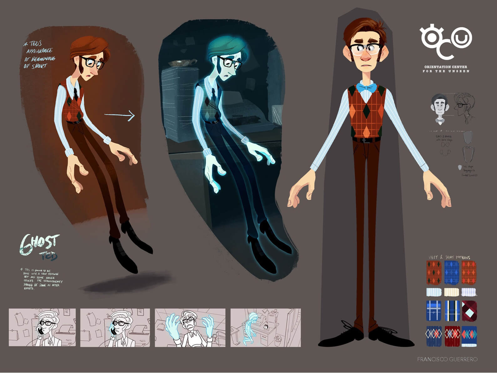Concept art of Ted from Orientation Center for the Unseen in alive and ghostly forms, including color palette and fashion