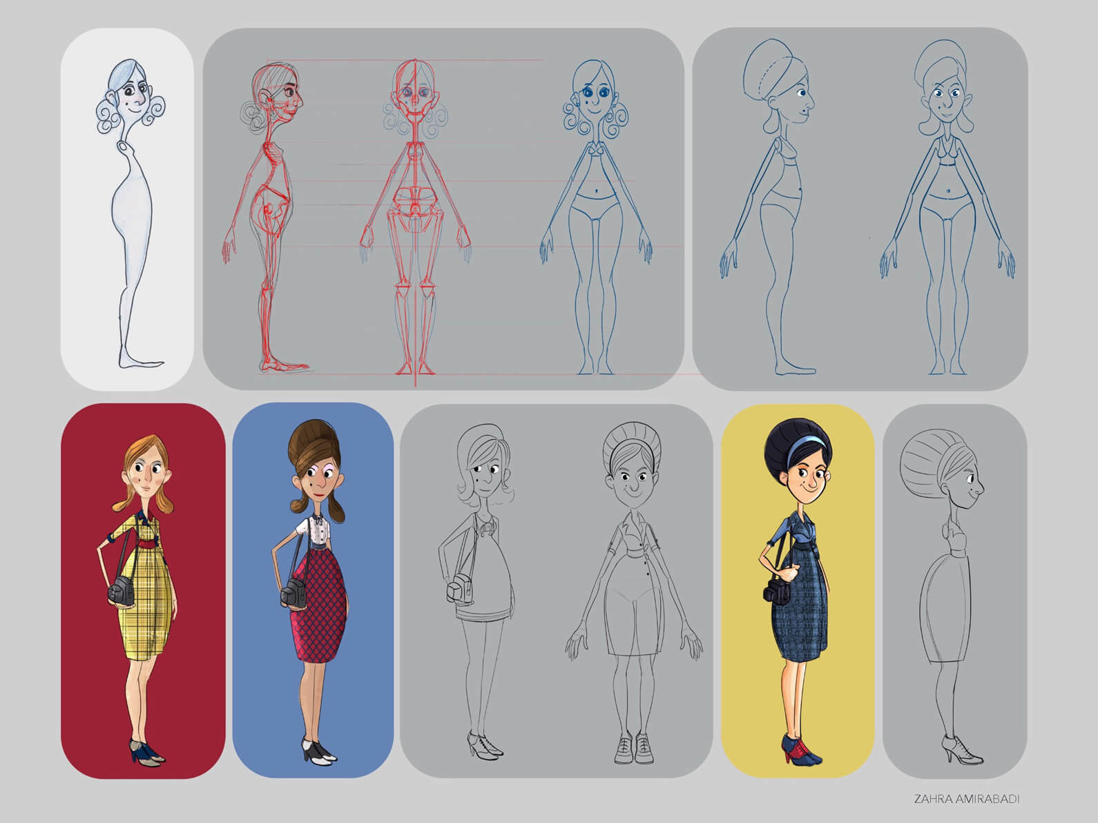 Early sketches and drawings of concept for the character of Peggy in Orientation Center for the Unseen