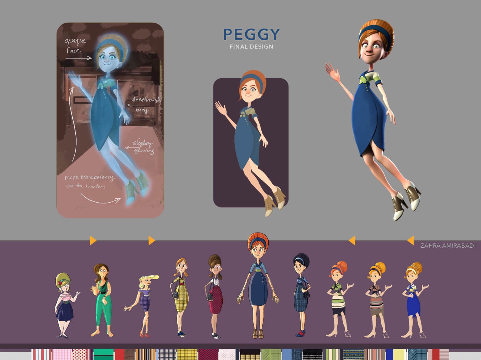 Final drawings and 3D model of Peggy in Orientation Center for the Unseen, both alive and in ghostly form