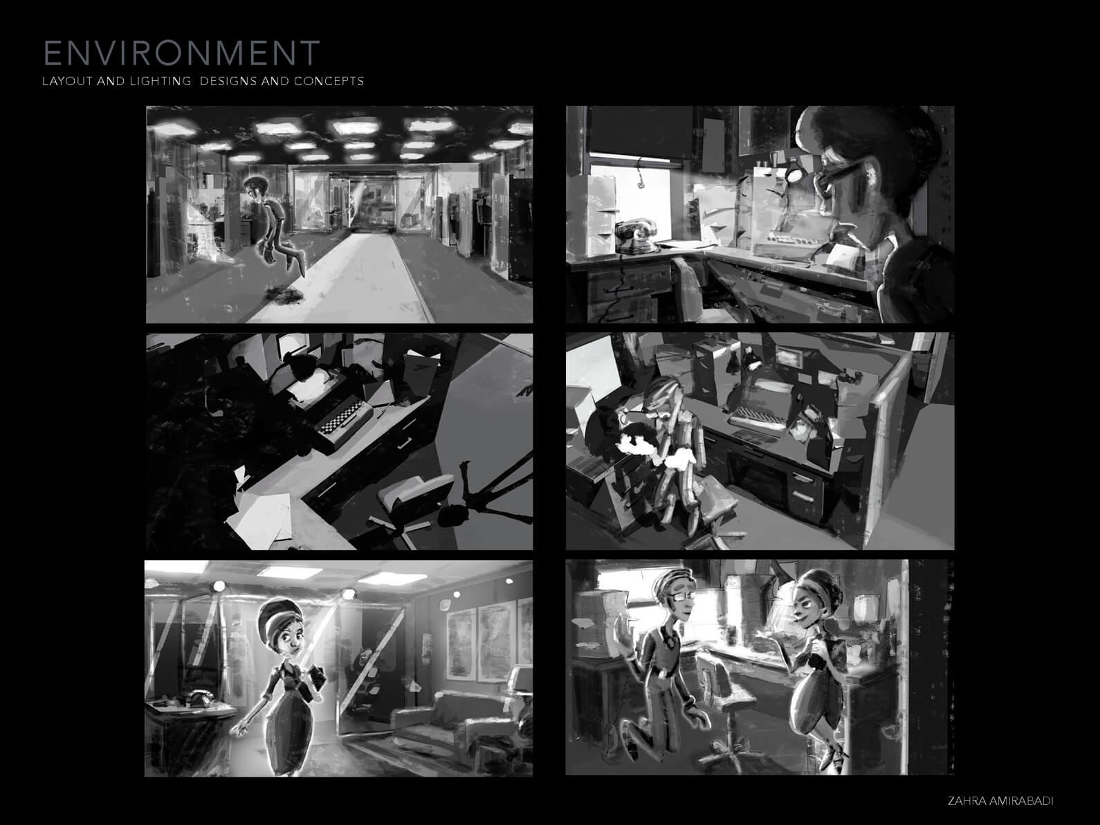 Layout and lighting design for Orientation Center for the Unseen depicting various still scenes in black and white