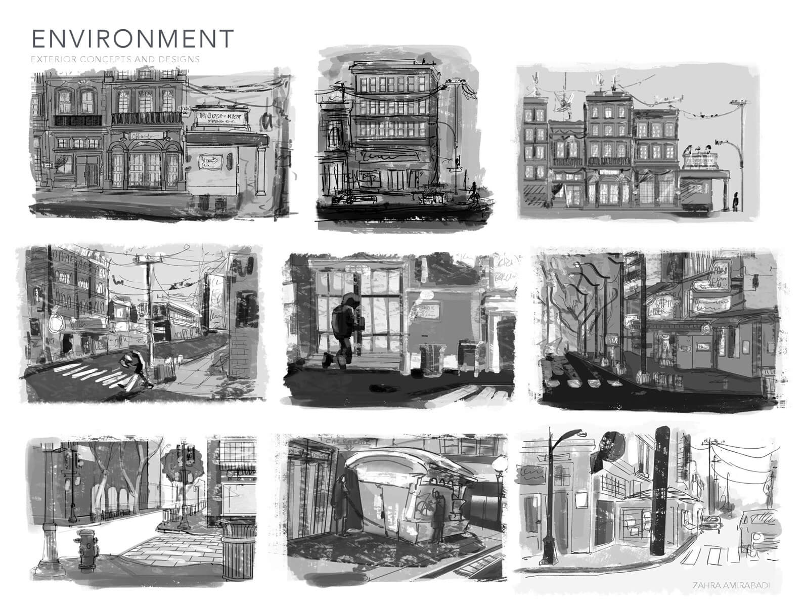 Black and white exterior concept sketches for buildings and streets in Orientation Center for the Unseen