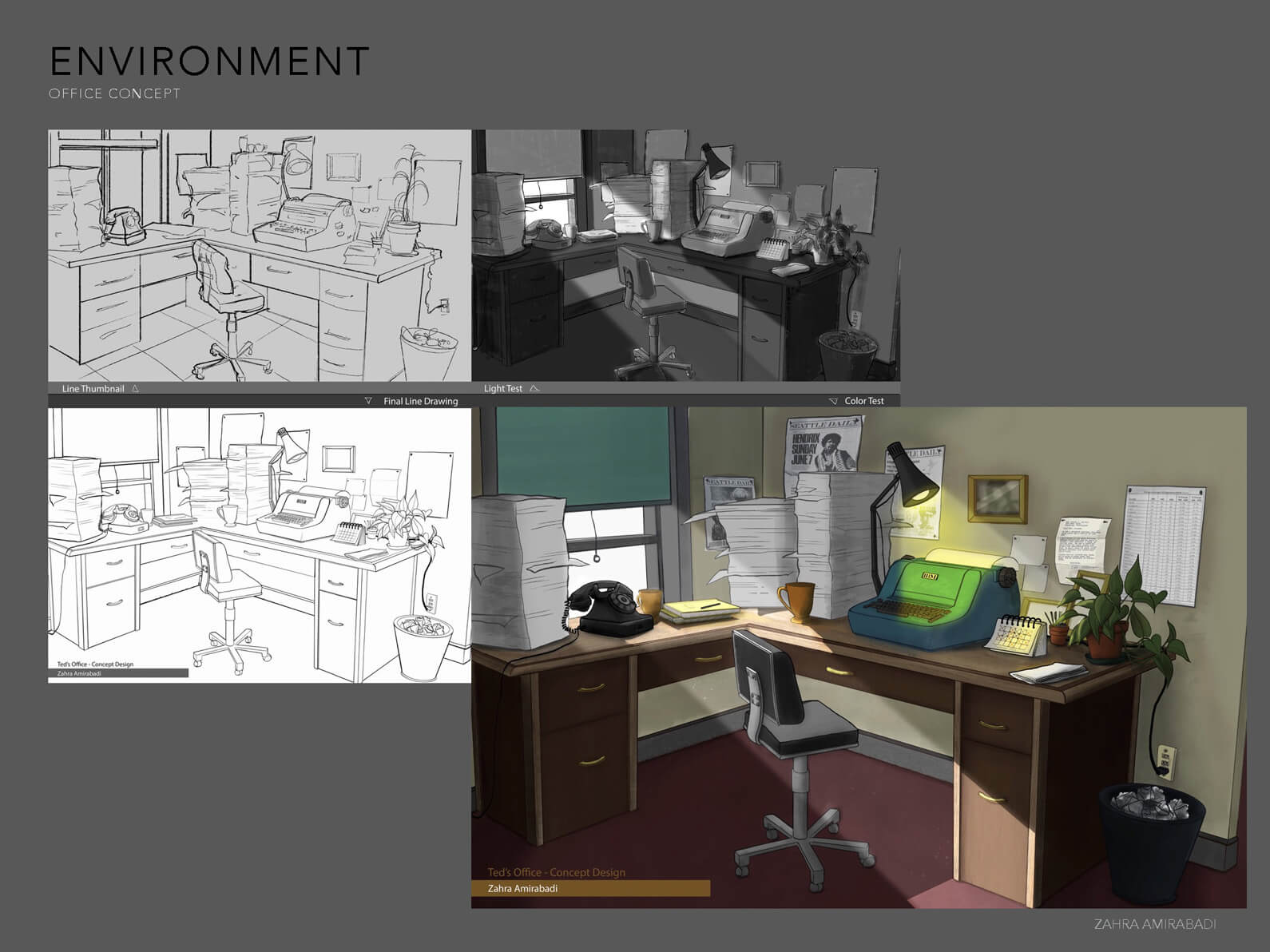 Concept sketches and drawings of the interior office set in Orientation Center for the Unseen