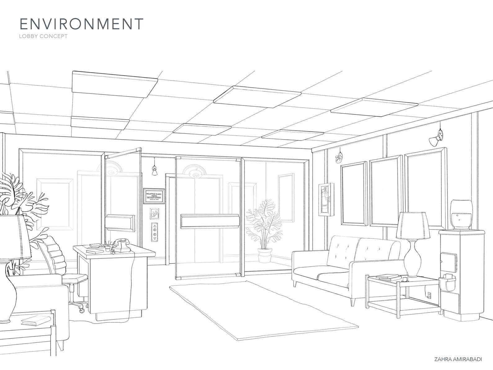 Black and white concept sketch of the Lobby environment from the short film Orientation Center for the Unseen.
