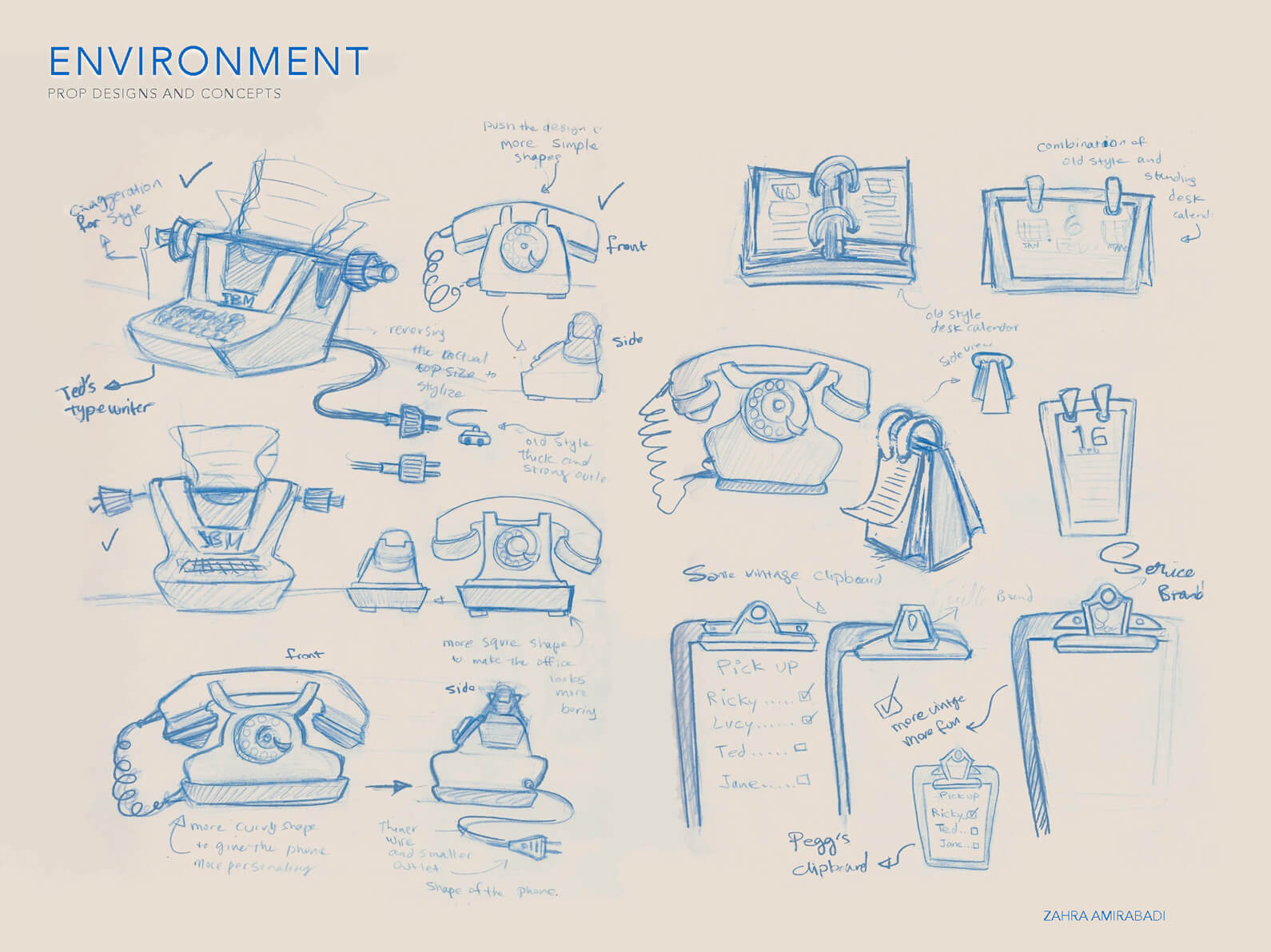 Blue line sketches of concepts for telephone, typewriter, and clipboard props for Orientation Center for the Unseen