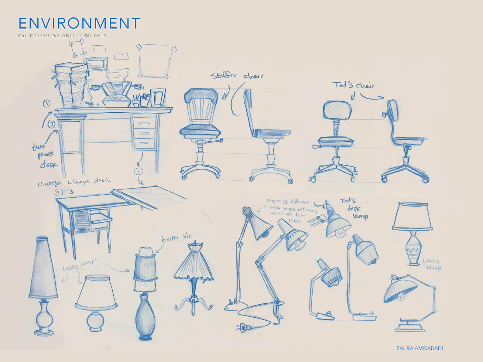 Blue line sketches of concepts for desk, chair, and lamp props for Orientation Center for the Unseen