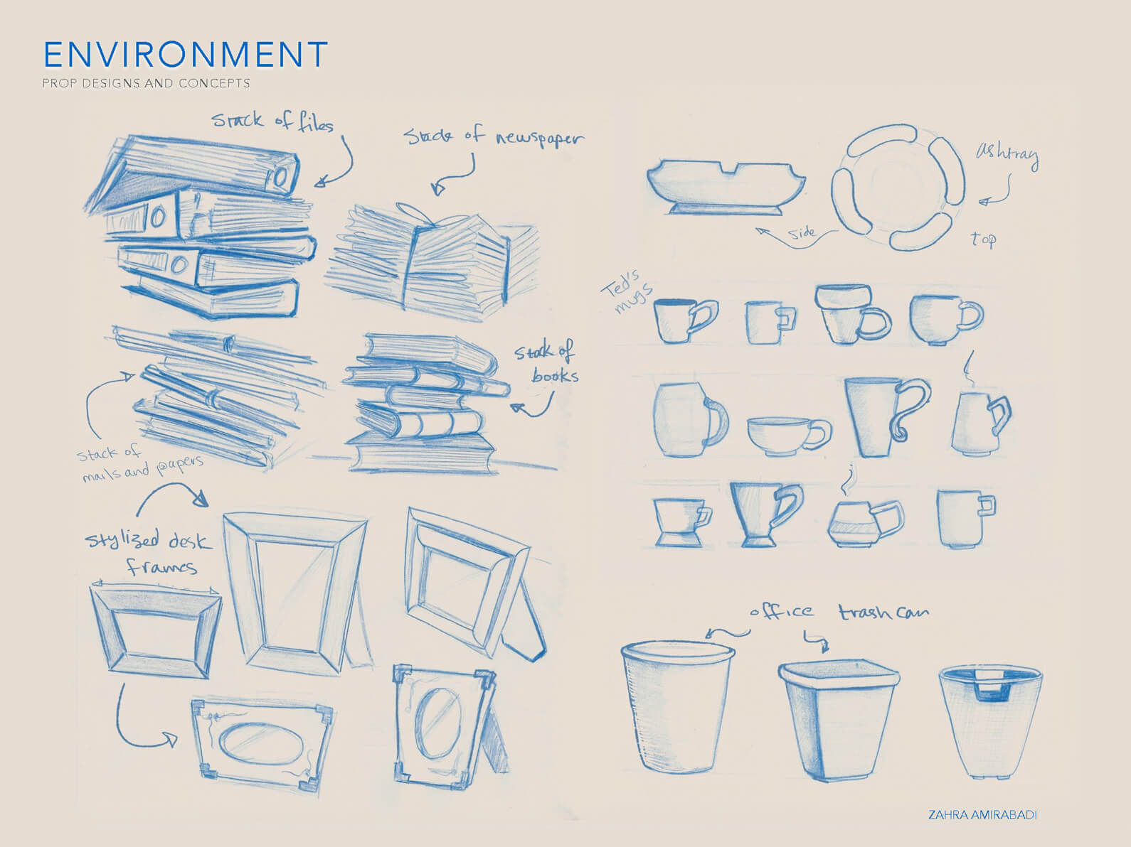 Blue line sketches of concepts for paper stack, picture frame, trash can, and cup props for Orientation Center for the Unseen