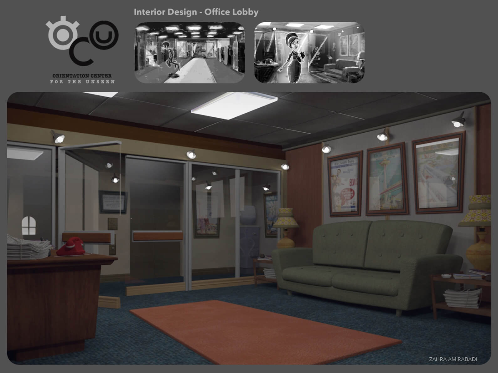 3D color and lighting interior concept design for the lobby set in Orientation Center for the Unseen
