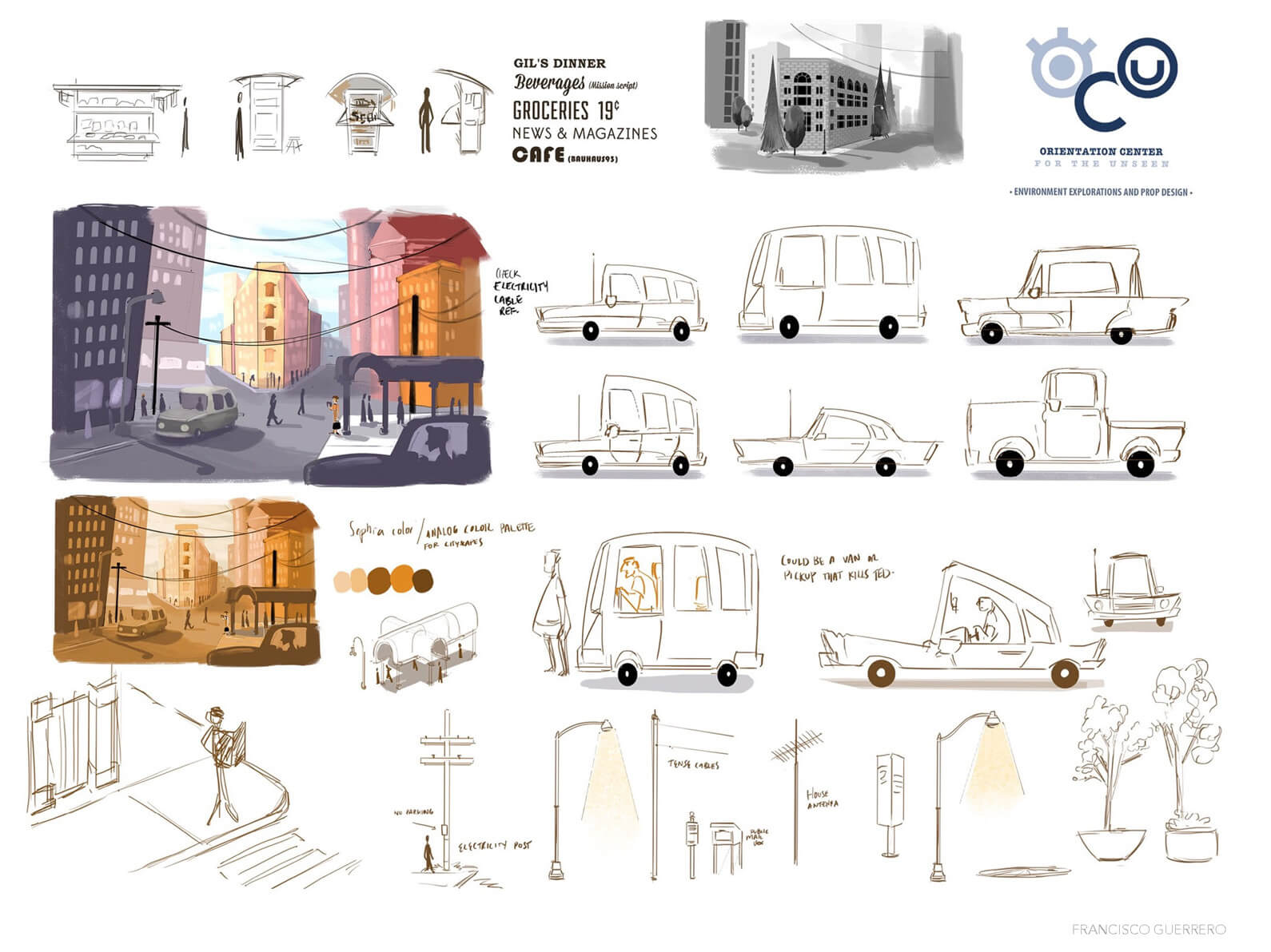 Environment and prop concept sketches for cars and street setting of Orientation Center for the Unseen