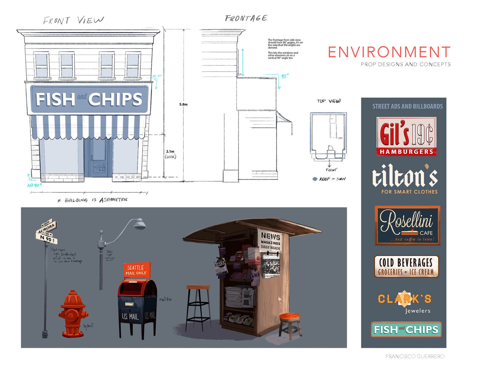 Concept sketches and drawings of building frontage, props, and logos for street setting in Orientation Center for the Unseen