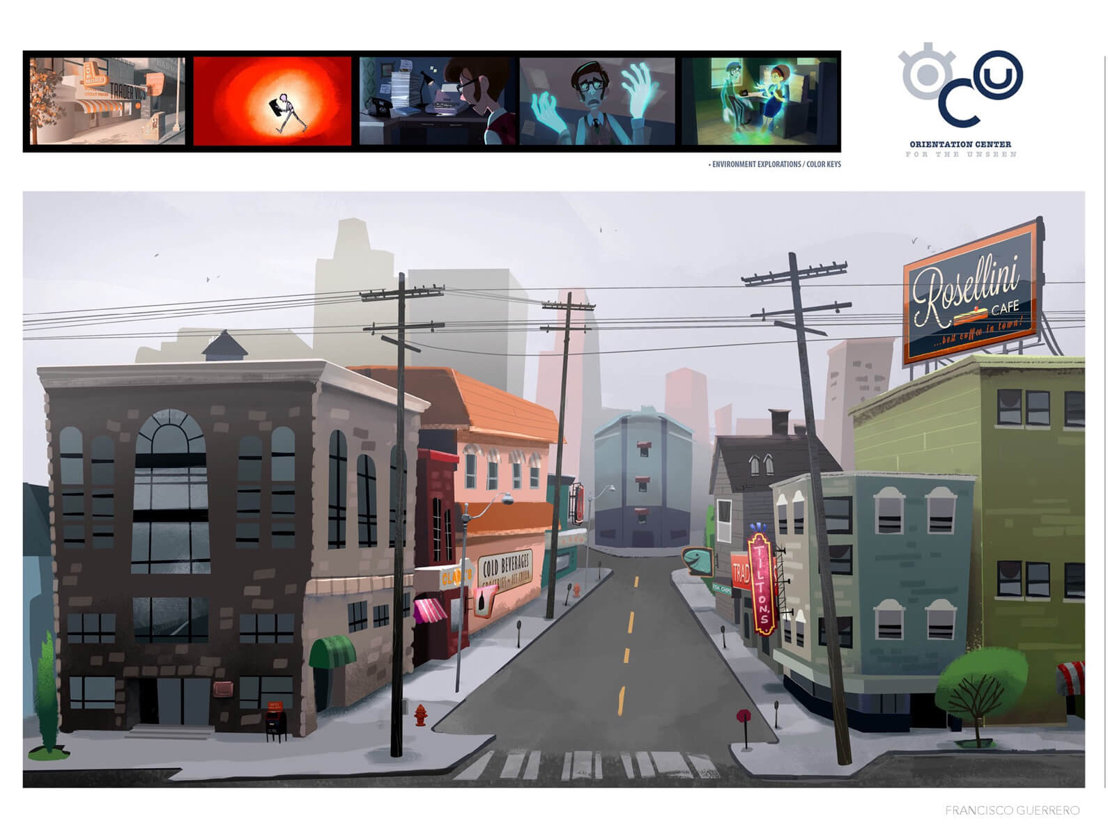 2D Color environment exploration and color key for the street setting in Orientation Center for the Unseen