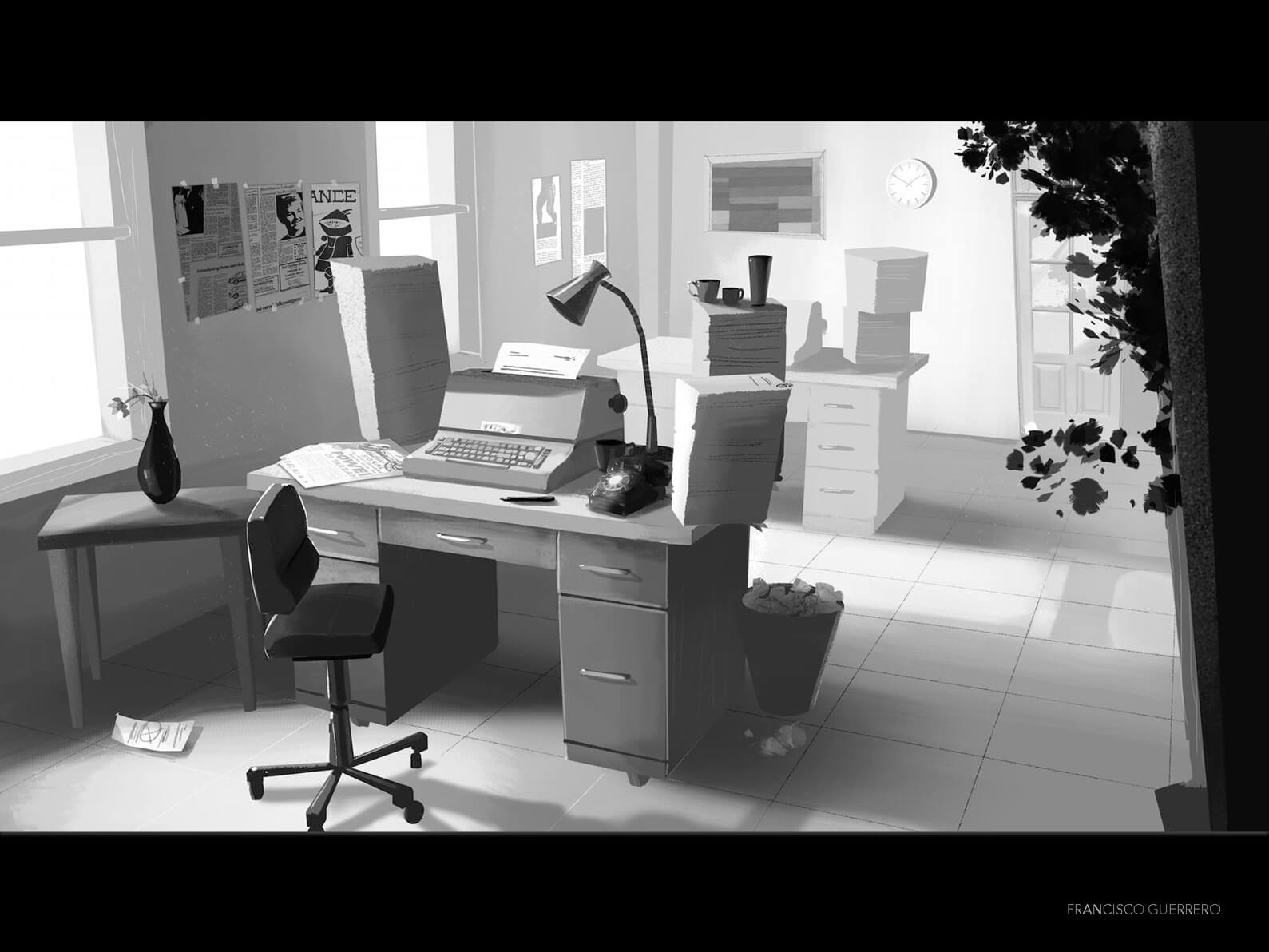 Grayscale drawing of an office setting with desks, chairs, typewriters, and paper stacks in Orientation Center for the Unseen
