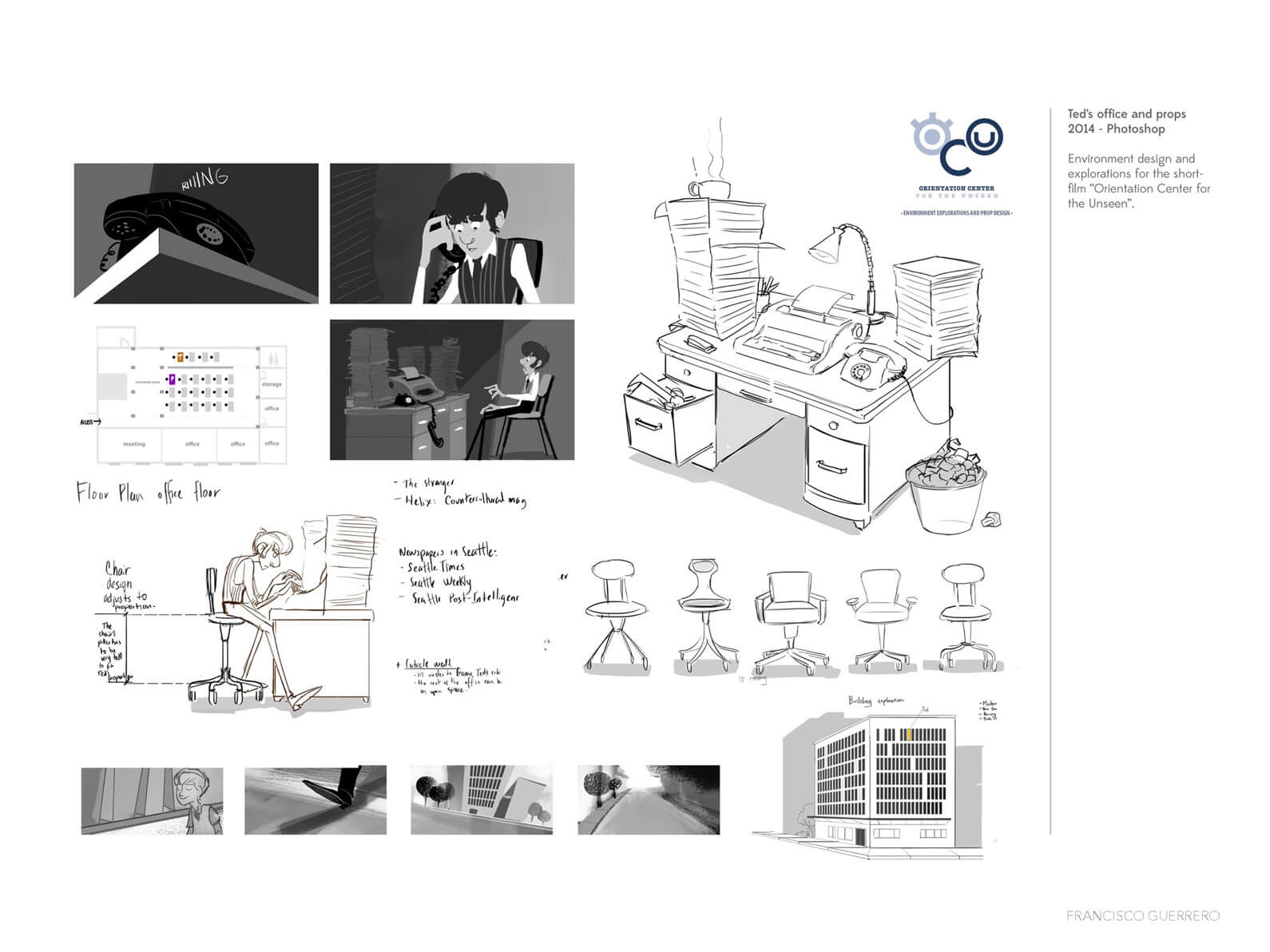 Black and white environment design and exploration for office setting in Orientation Center for the Unseen