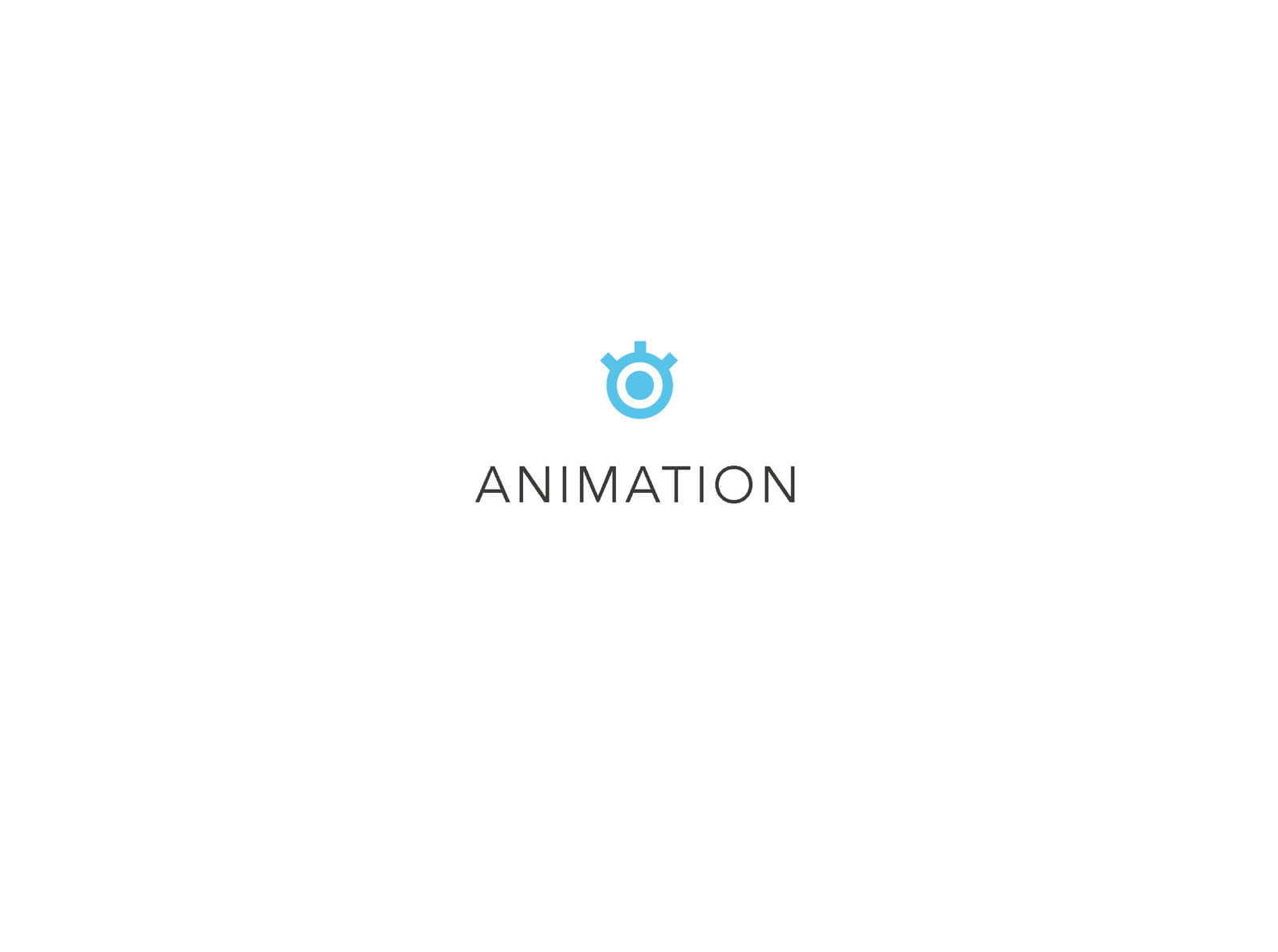 """Presentation slide for the short film Orientation Center for the Unseen, white background with text reading """"ANIMATION"""""""