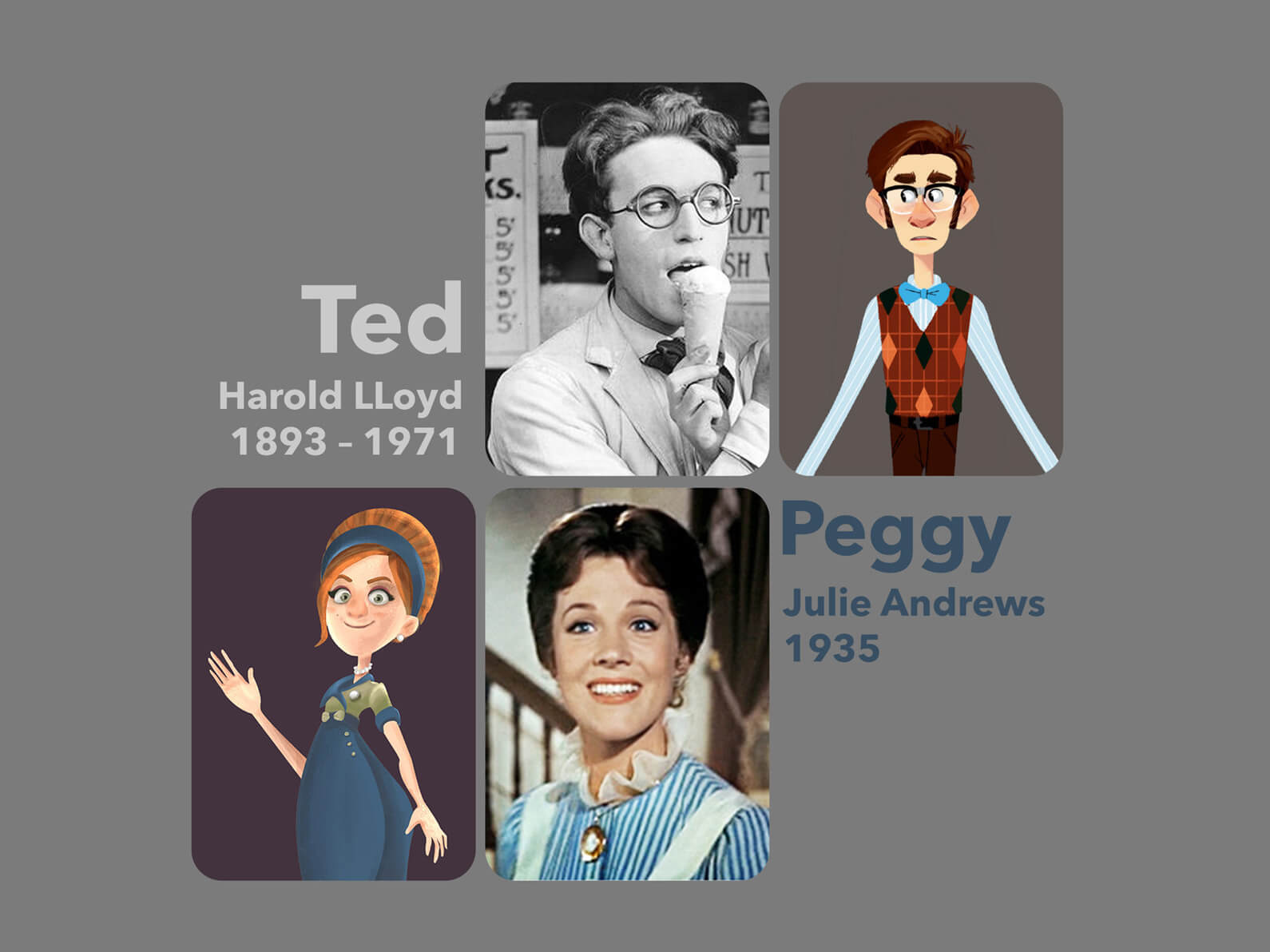 Sketches and photos depicting character inspirations for Orientation Center for the Unseen: Harold Lloyd and Julie Andrews