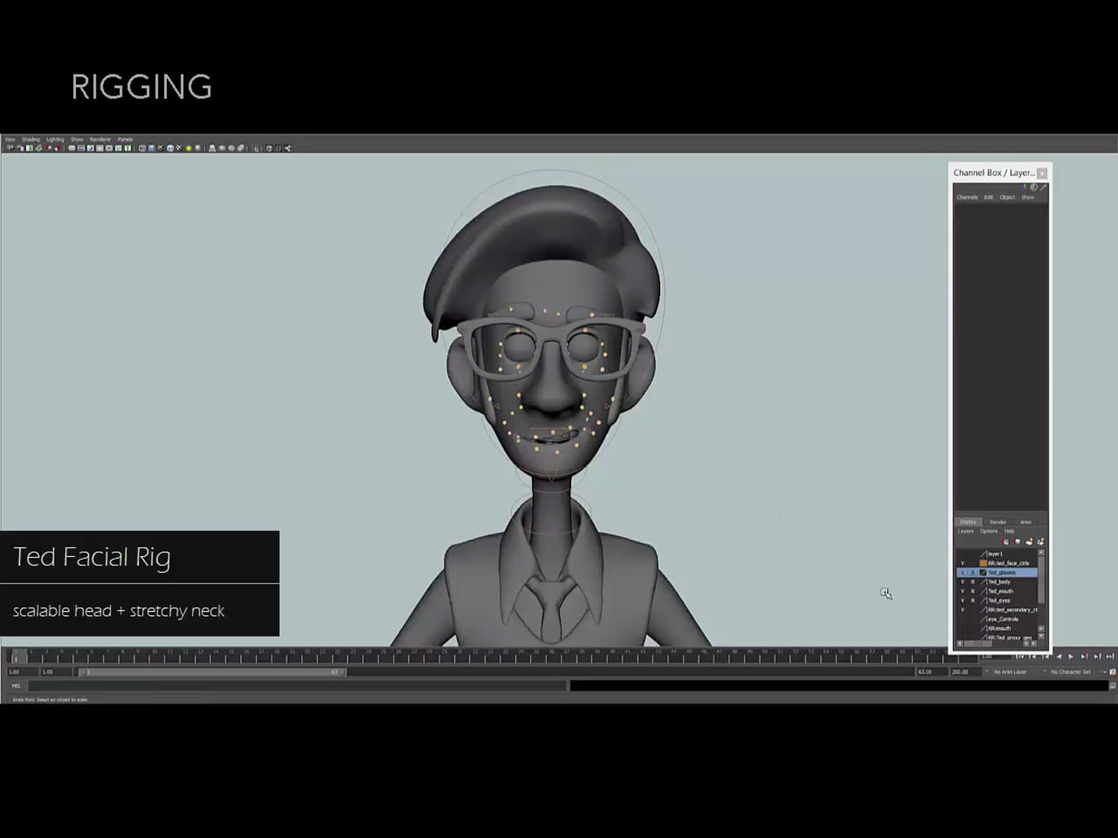 Screenshot depicting animation program UI during the rigging process for Ted's face in Orientation Center for the Unseen