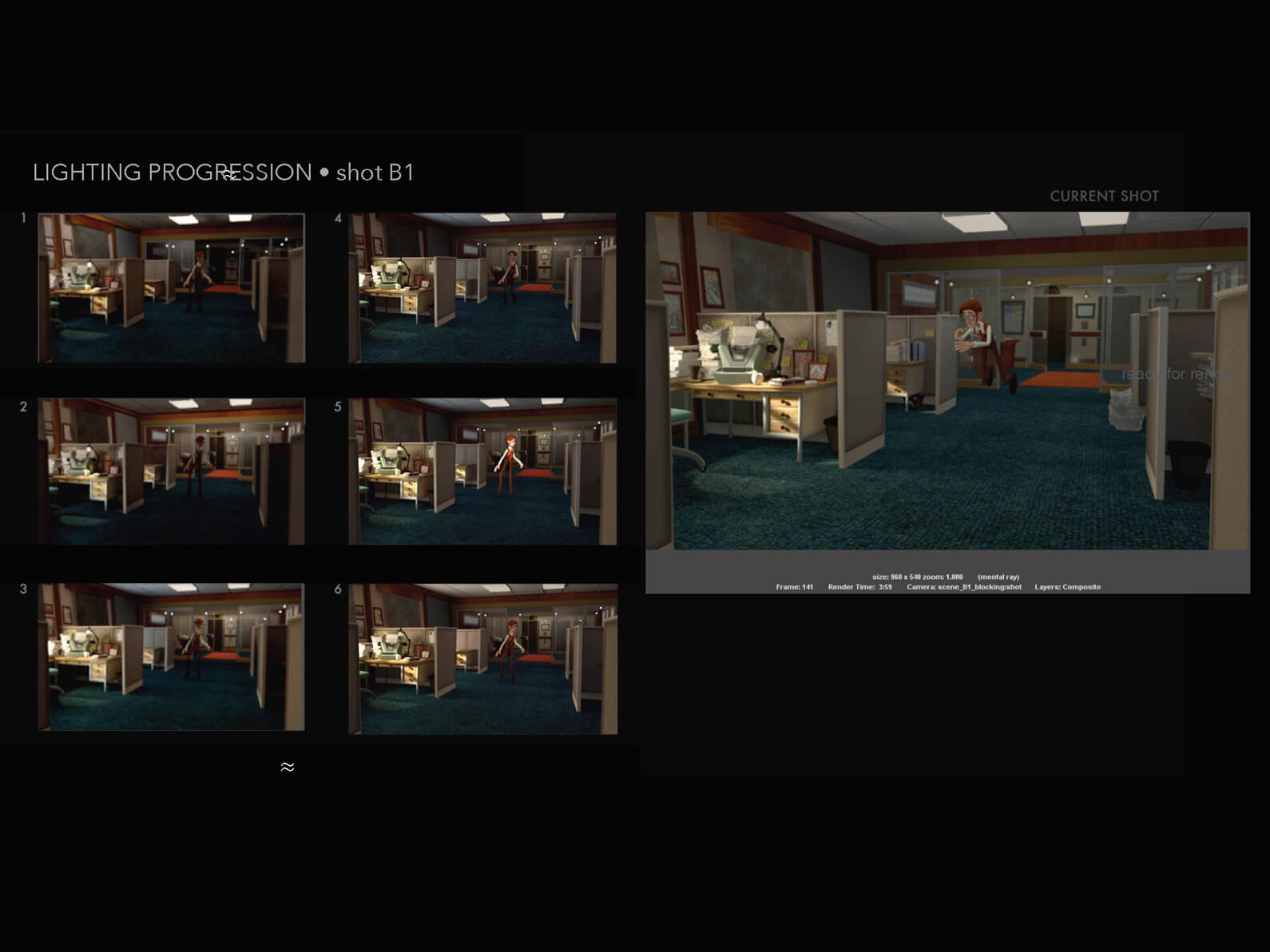 Lighting progression process for a single shot of a man floating in an office setting in Orientation Center for the Unseen