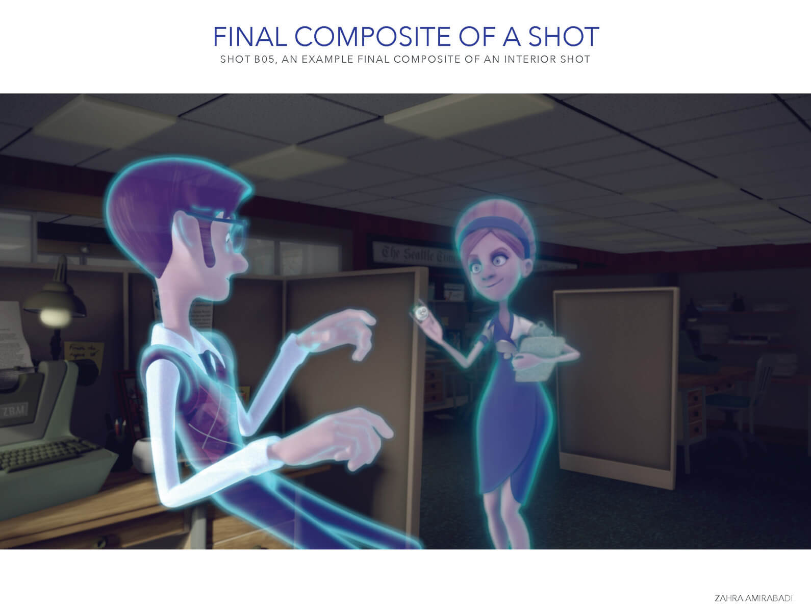 Final composite of a shot of the man and woman ghosts in an office setting in Orientation Center for the Unseen