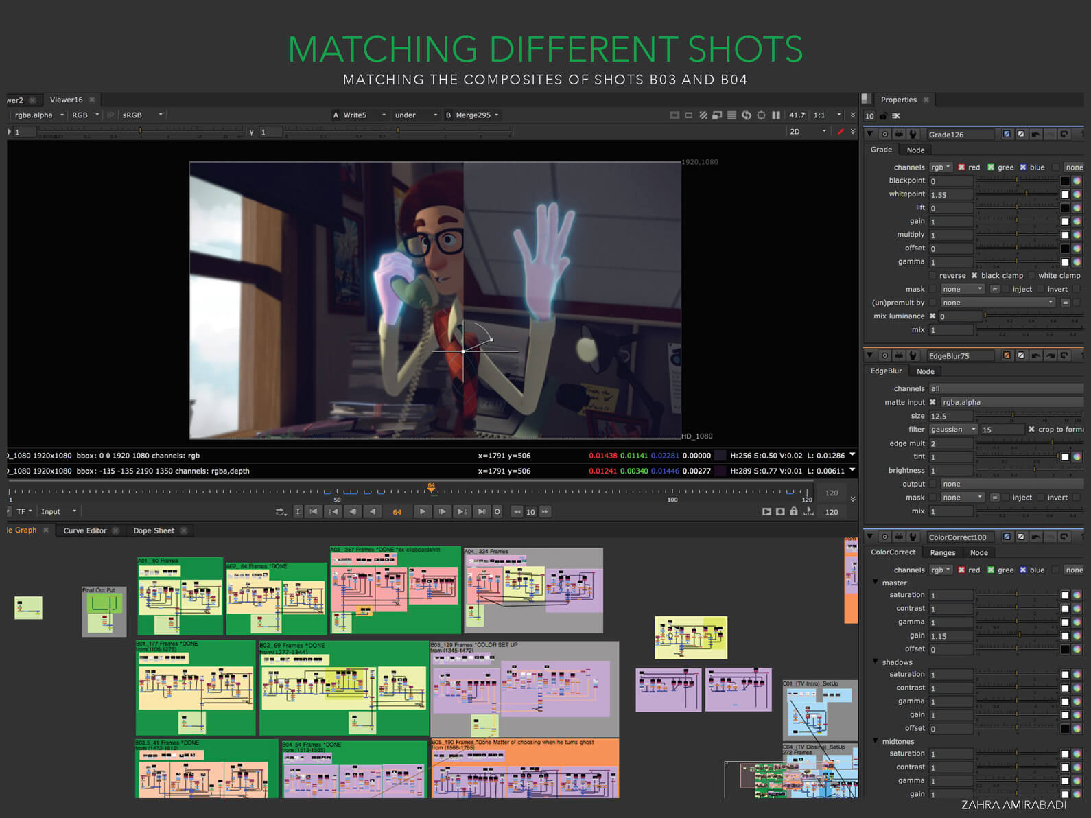 Screenshot depicting animation program UI during the matching process of two different composited shots