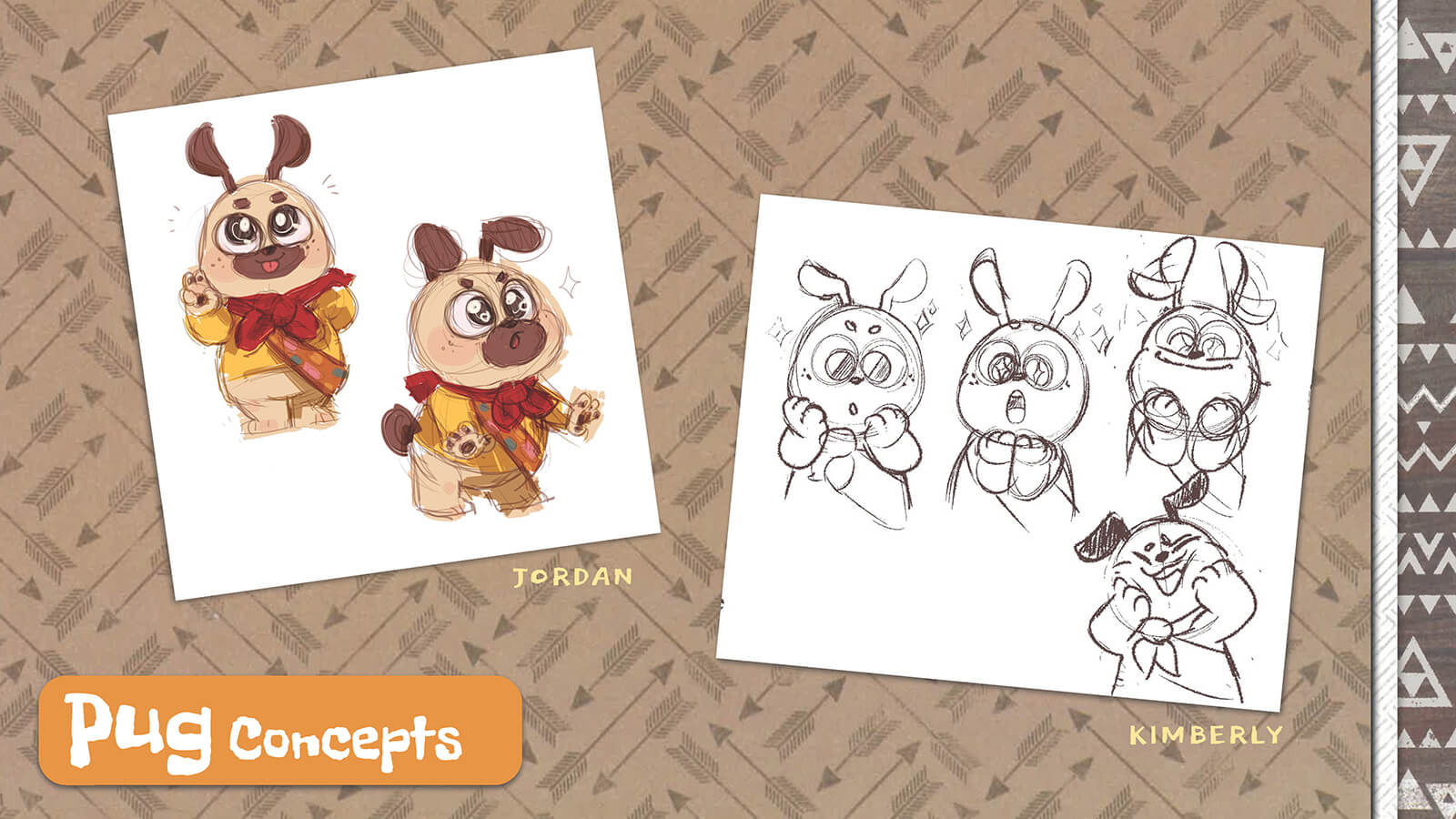 Concept art and sketches of the character Pug.